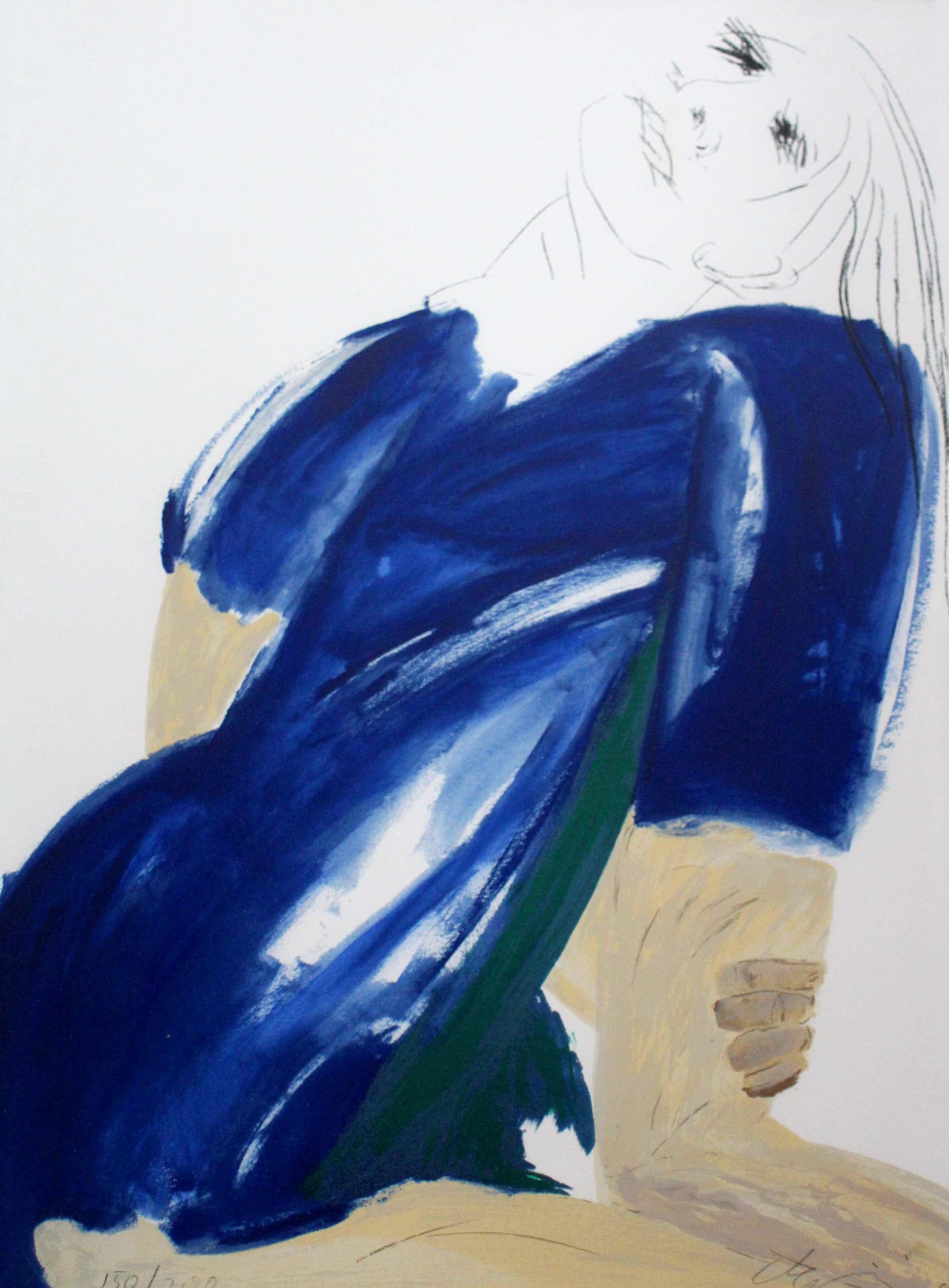 Jacqueline de Jong - Ingelijst litho: Dame in blauwe jurk kopen? Bied vanaf 65!