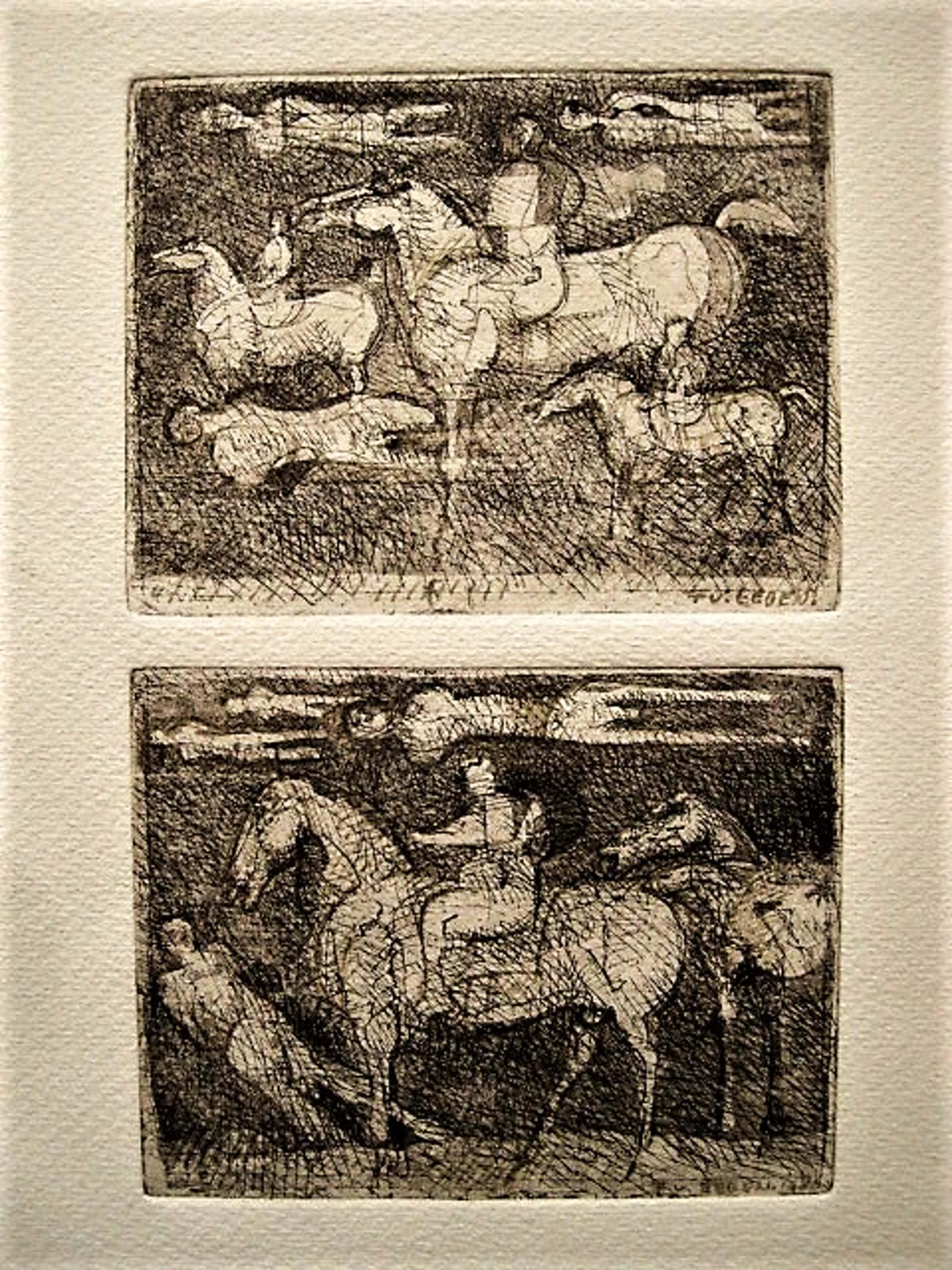 """Frits van Eeden - Bijzondere 1980 dubbel Ets """"paarden en figuren"""" gesigneerd kopen? Bied vanaf 20!"""