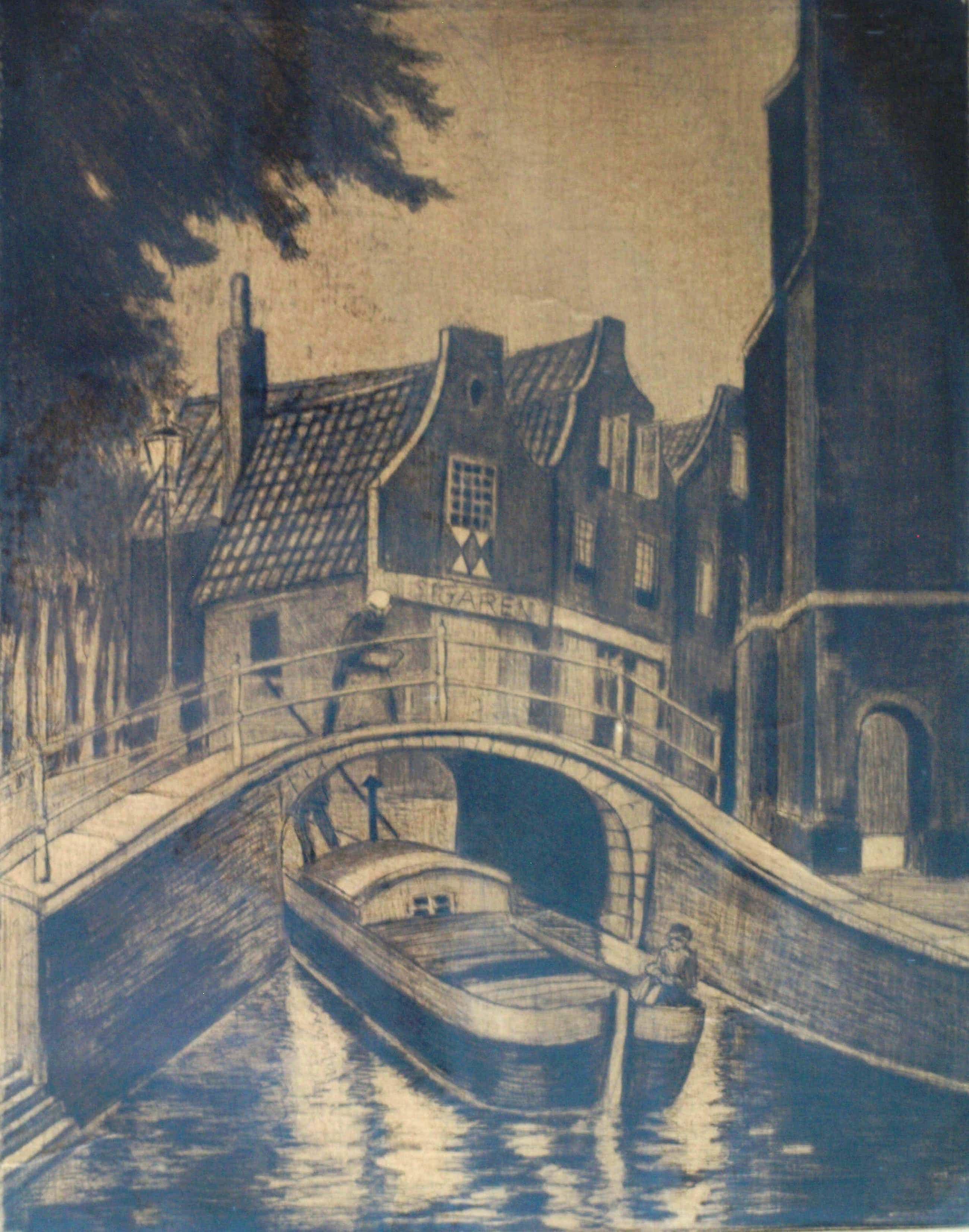 Hubert Hannemann - Ingelijste ets , 'Delfter Gracht' – Delft , ca. 1940 kopen? Bied vanaf 35!