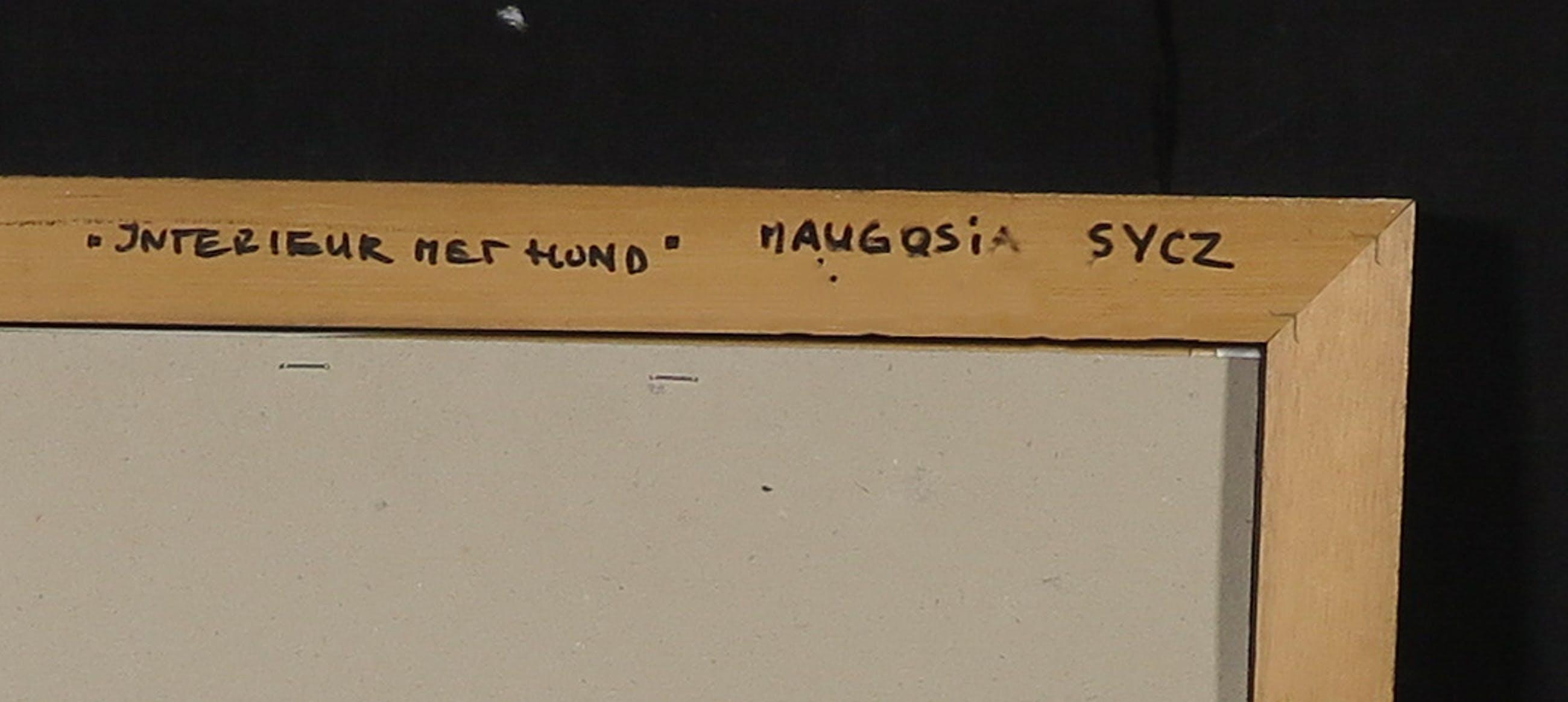 Maugosia Sycz - Acryl en collage op doek, Interieur met hond - Ingelijst kopen? Bied vanaf 60!