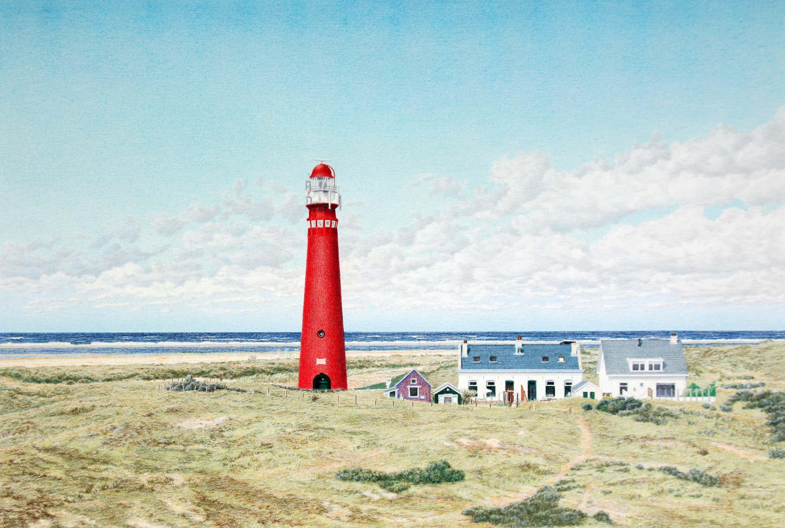 Frans Room - zeefdruk vuurtoren – Schiermonnikoog – Noordertoren - FR0028 kopen? Bied vanaf 35!