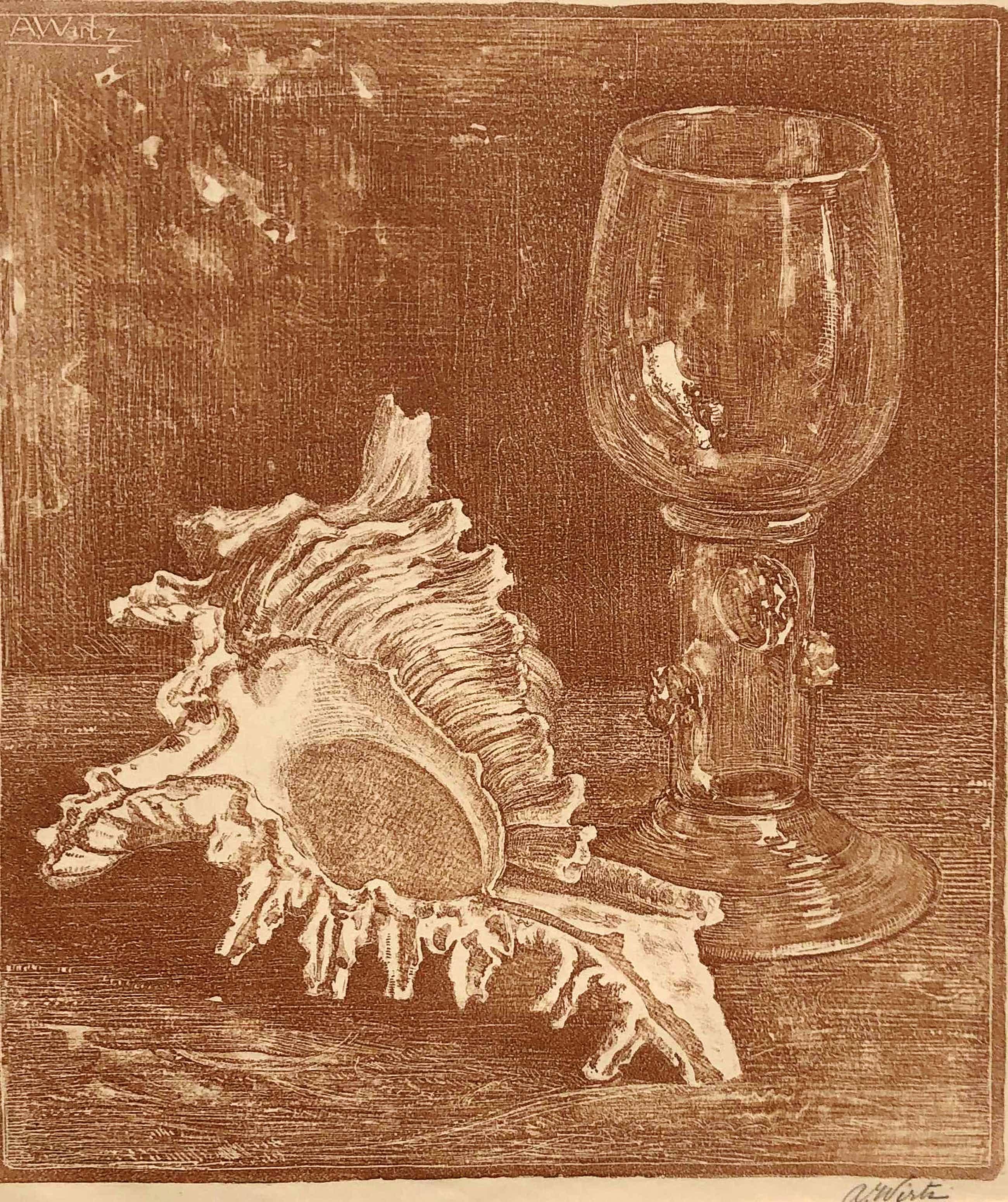 Anton Wirtz - stilleven met glas en schelp kopen? Bied vanaf 50!