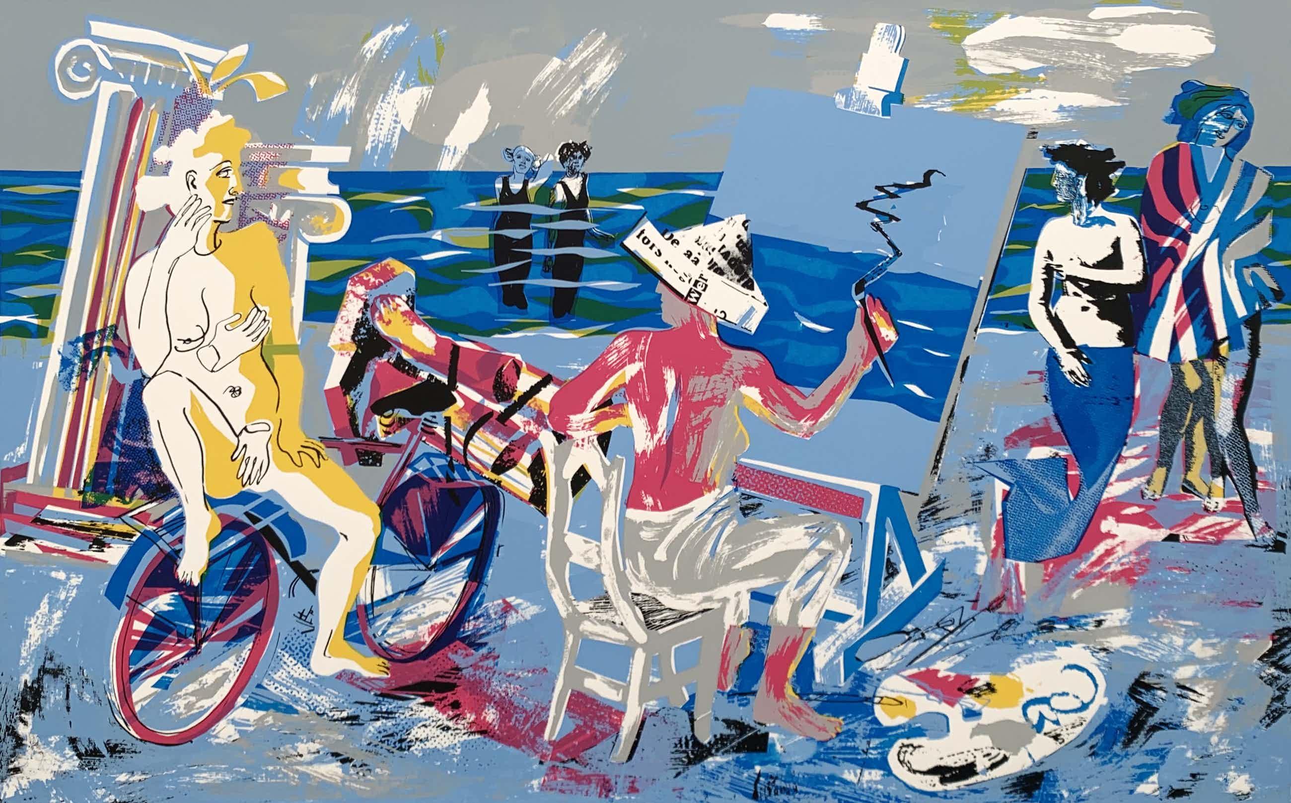 Hermien van Herpt - kleurenzeefdruk - 'Kunstenares/model II' - 1985 kopen? Bied vanaf 60!