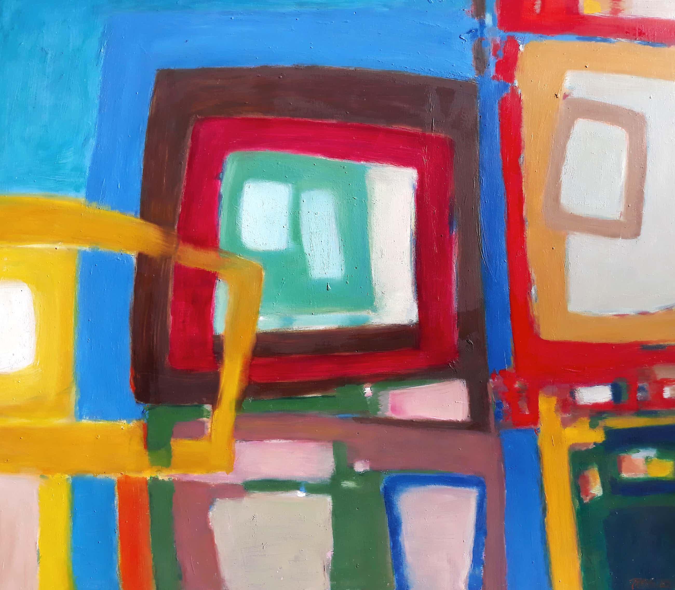 Phil Grisel - Abstracte compositie, olieverf op hardboard (groot) kopen? Bied vanaf 141!