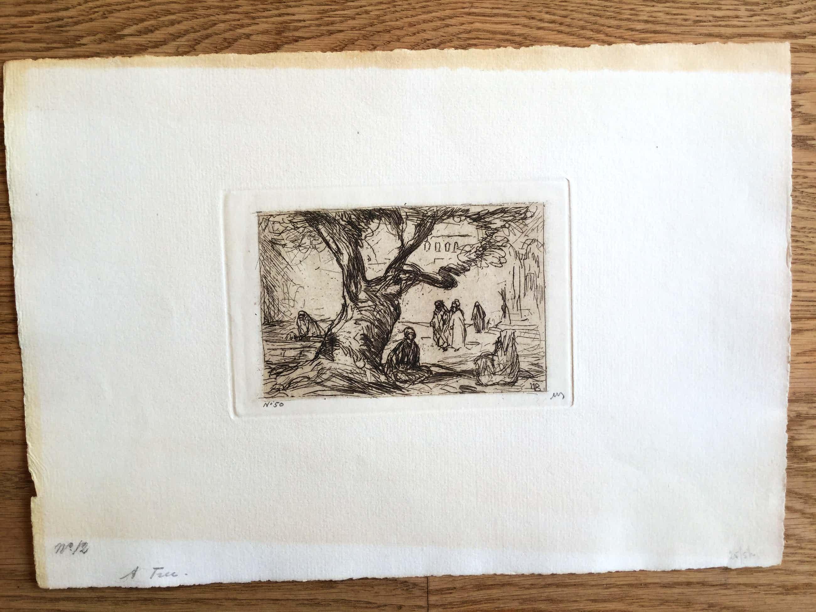 Marius Bauer - Tree. Ets van mensen onder een boom, oosters landschap. kopen? Bied vanaf 40!