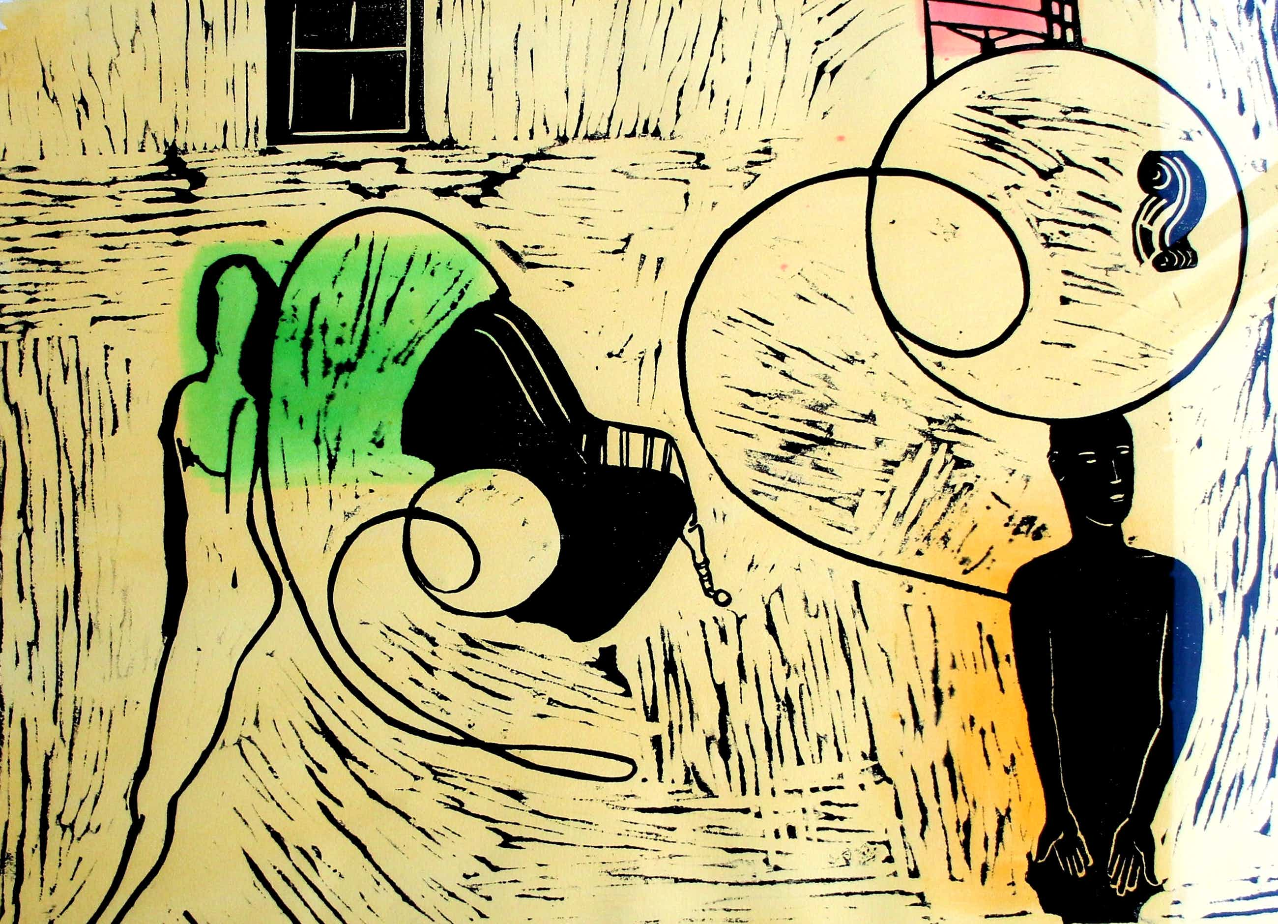 Jasper Krabbe - ingelijste , met de hand ingekleurde lino: in de huiskamer - 1996 kopen? Bied vanaf 200!