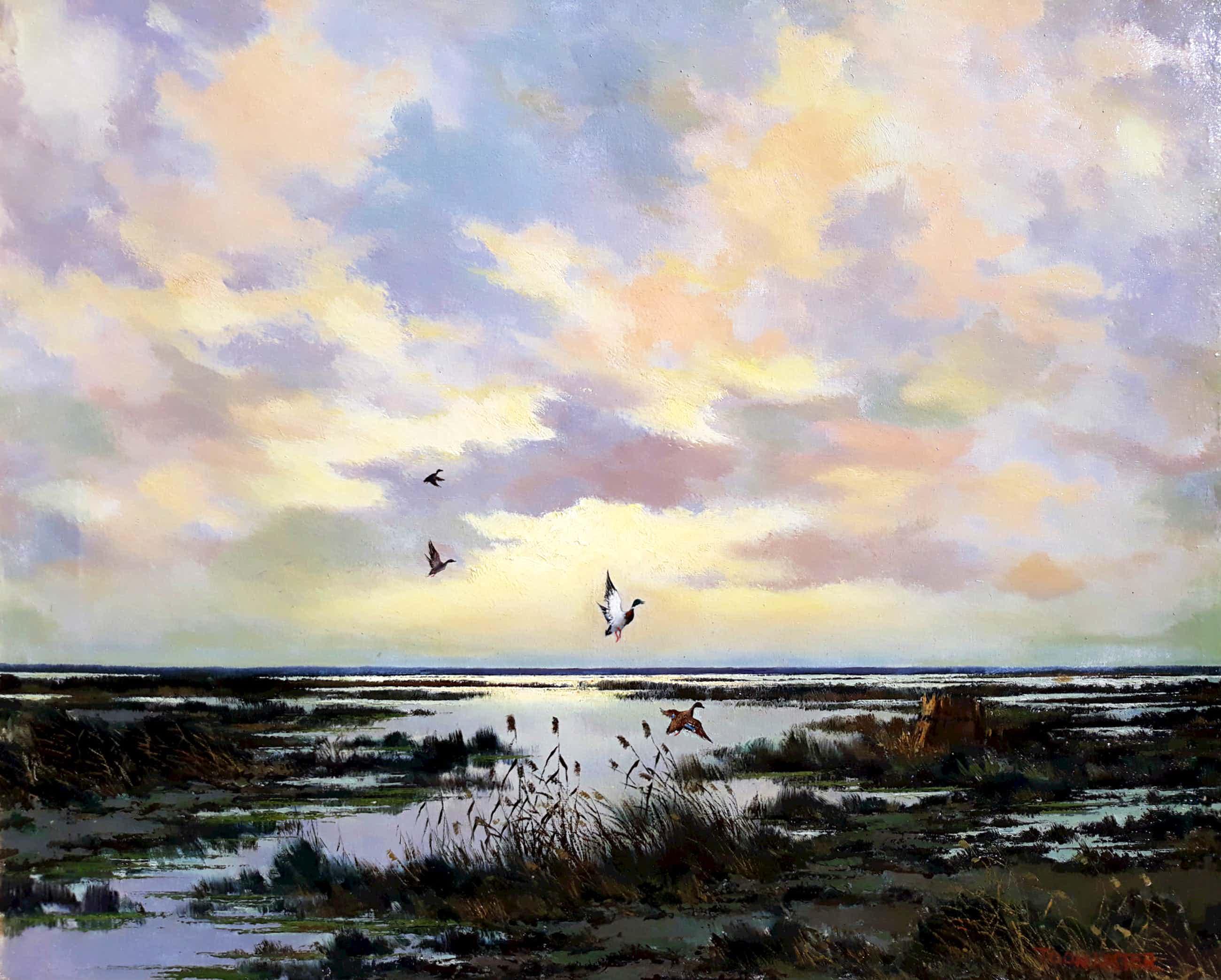 Toon Koster - Opvliegende eenden in plaslandschap, olieverf op doek (ingelijst, groot) kopen? Bied vanaf 180!