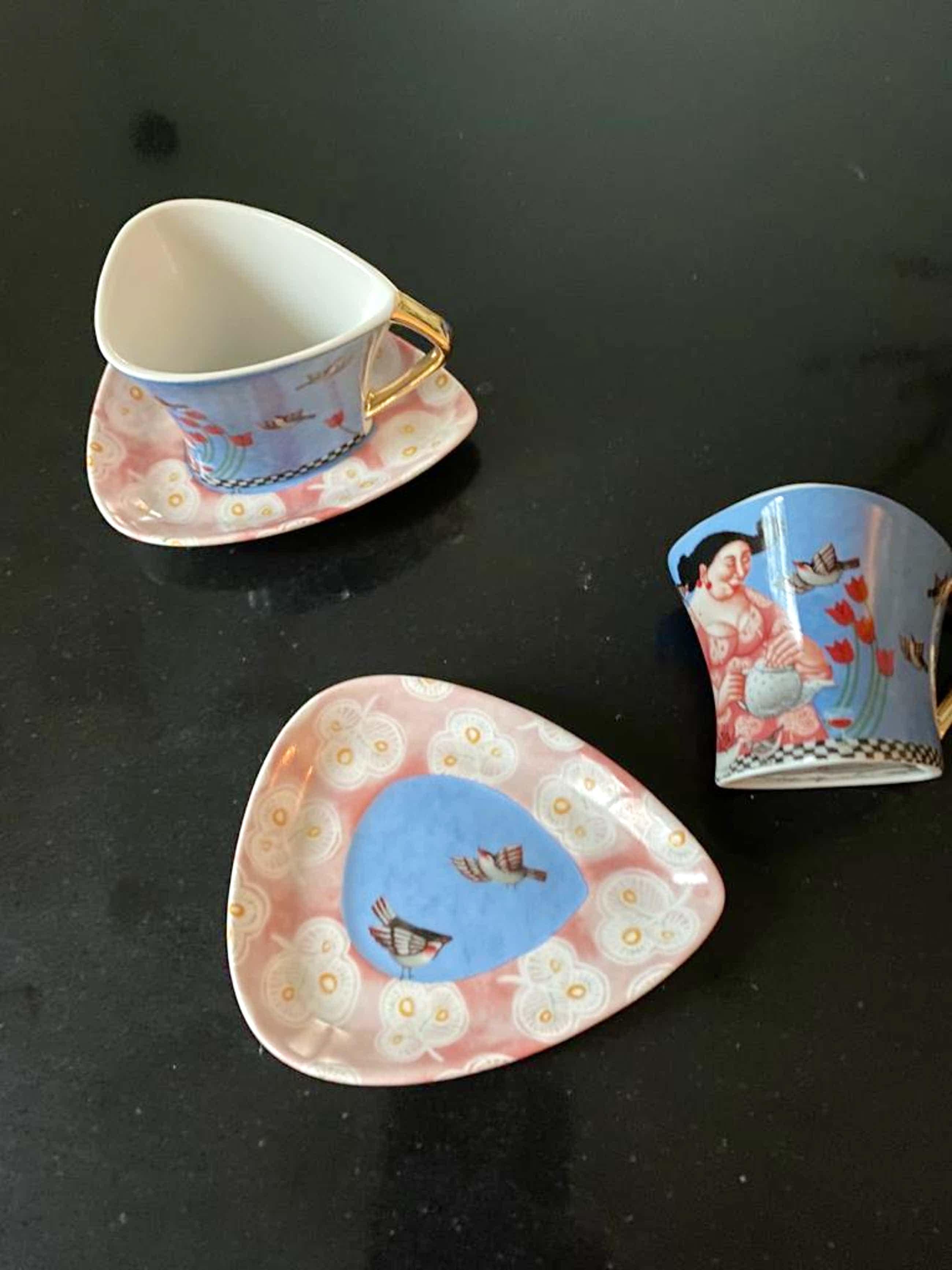 Ada Breedveld - twee koffie/espressokopjes met schotel in doos kopen? Bied vanaf 20!