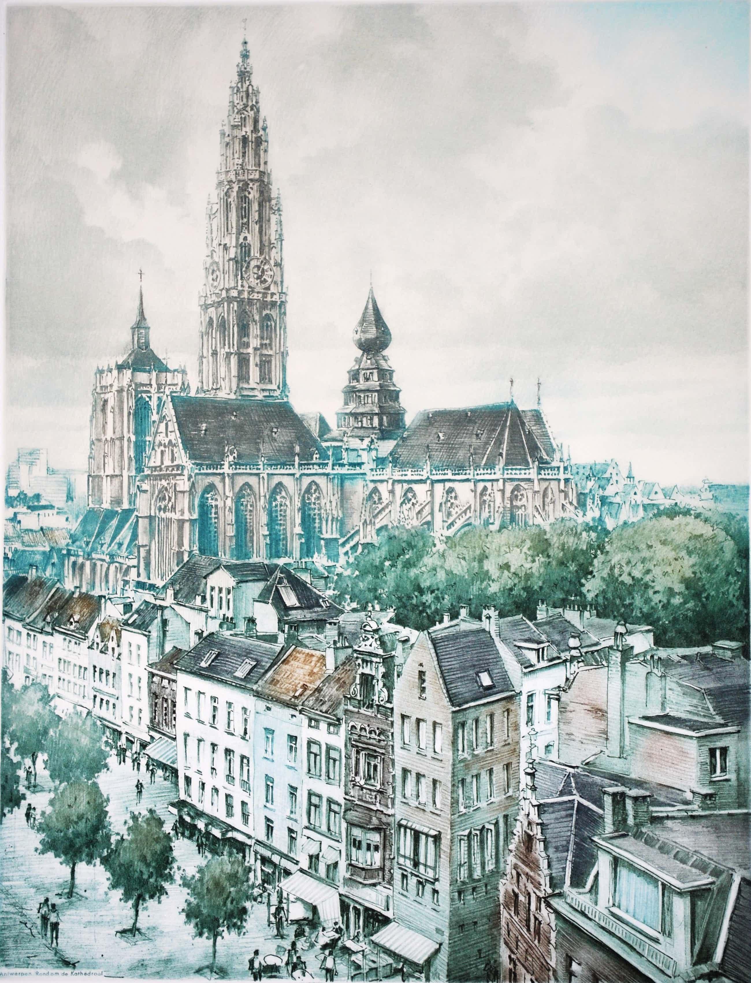 Roger Hebbelinck - Antwerpen, rondom de kathedraal - kleurets kopen? Bied vanaf 65!