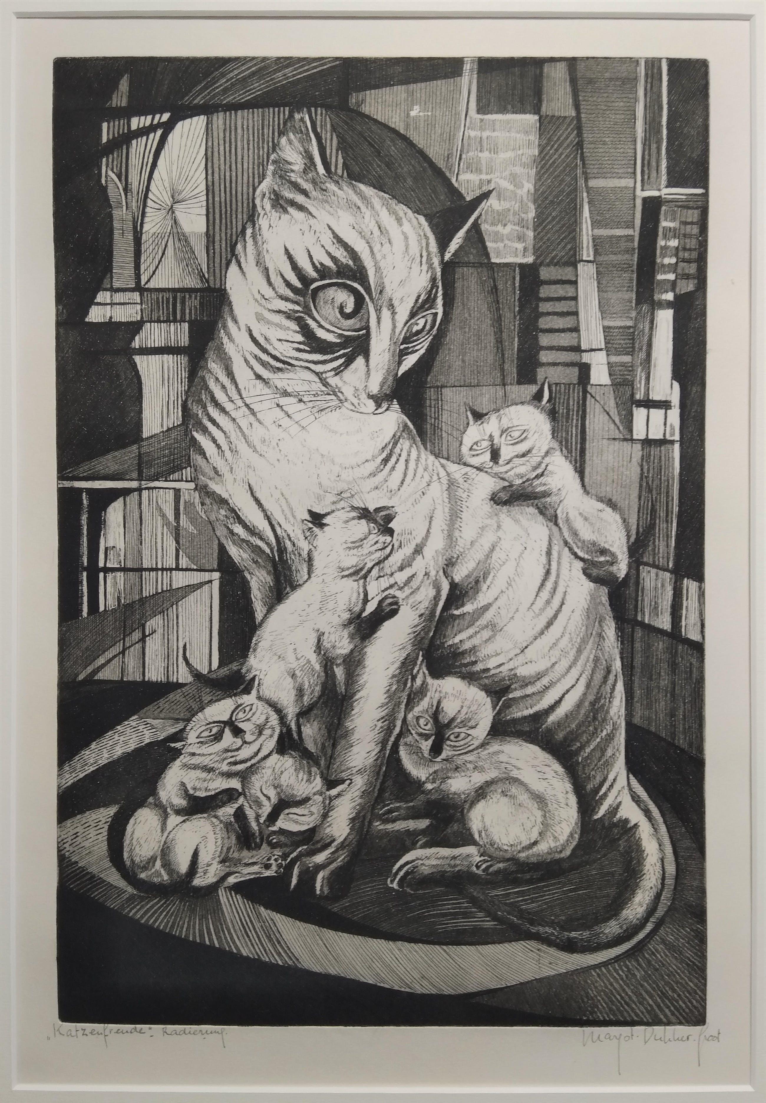 "Margot Dukker-Groot - ""Katzenfreude"", Radierung, (''Kattenplezier'', Ets.) kopen? Bied vanaf 50!"