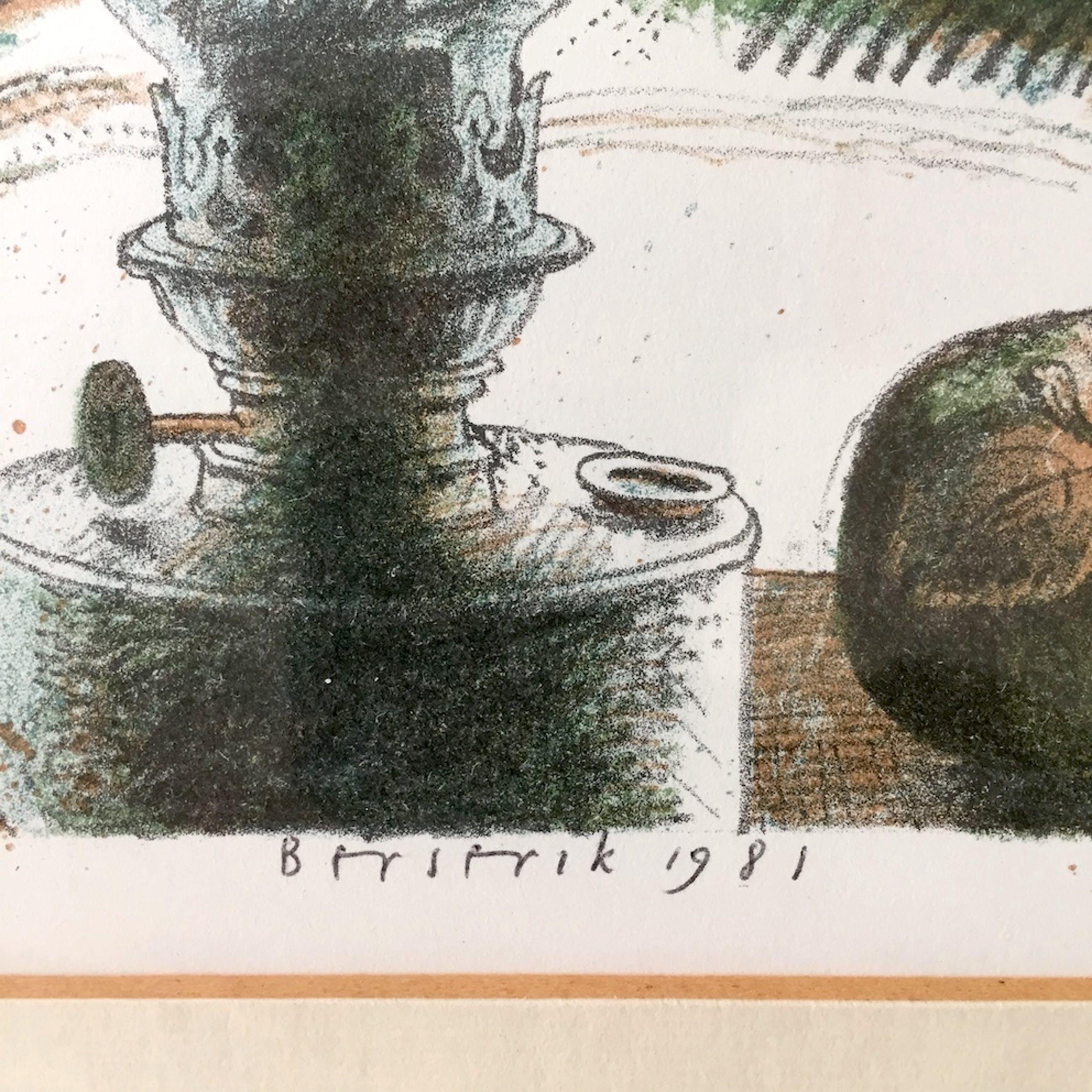 Herman Berserik - Olielamp met fruit - Lithografie, Ingelijst kopen? Bied vanaf 109!