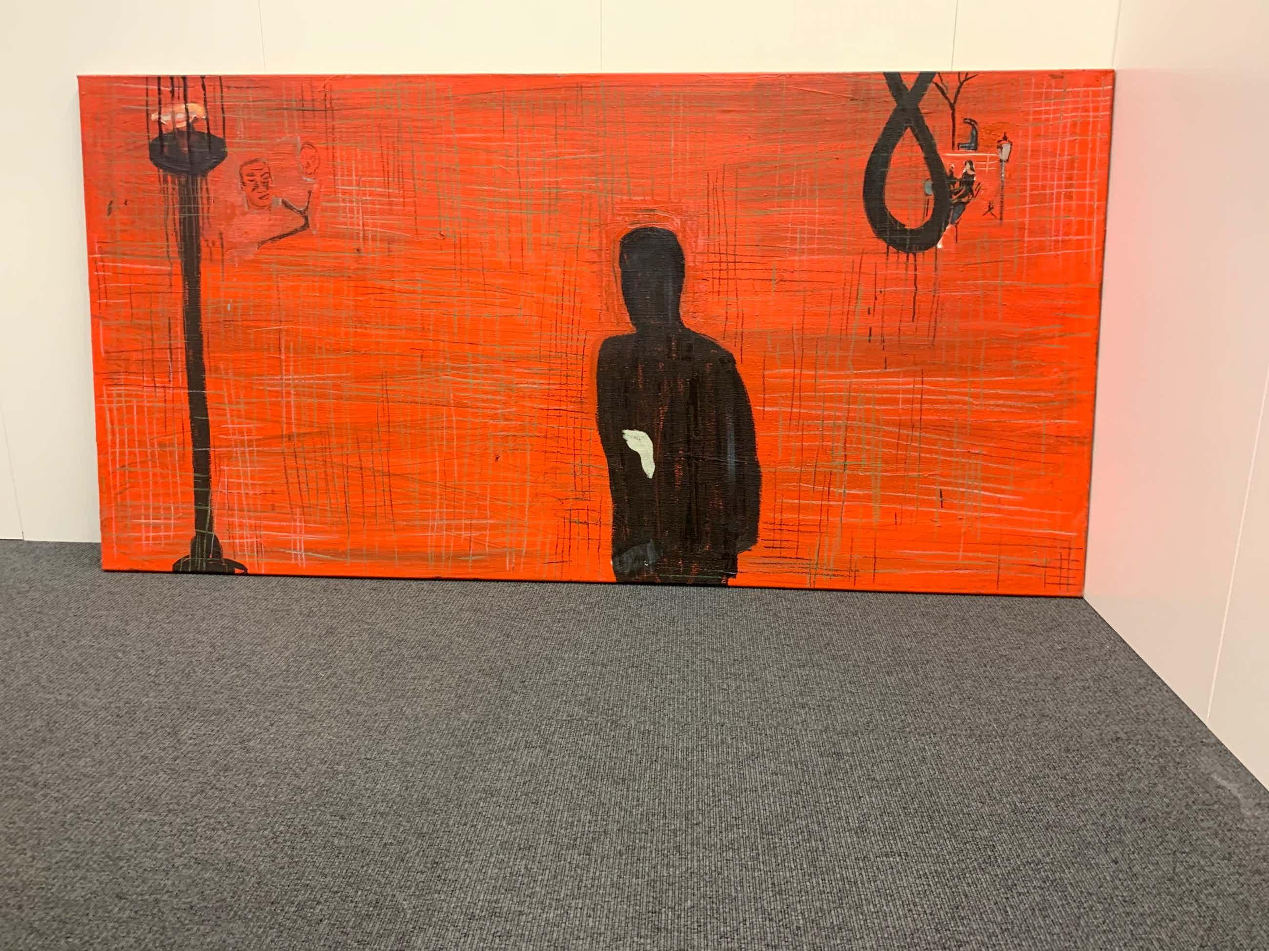 Jasper Krabbe - man op rood canvas kopen? Bied vanaf 370!