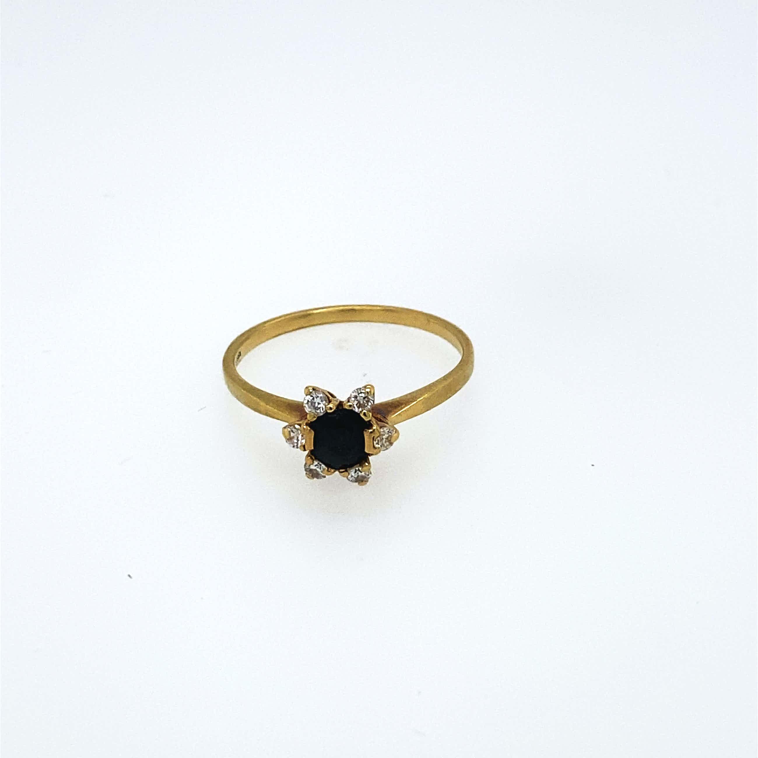 14kt gouden diamanten ring+saffier, maat 54/17,50, 2,08 gr kopen? Bied vanaf 180!