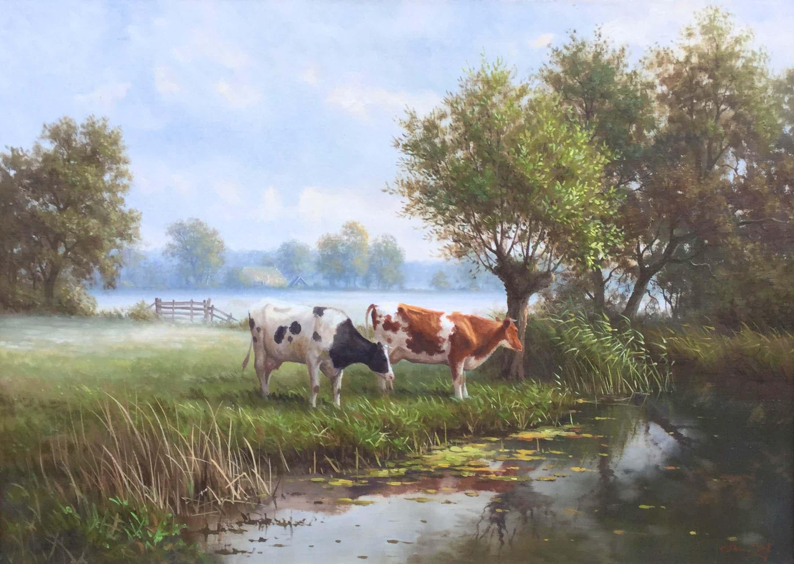 Ron Meilof - C4240 - Koeien langs het water kopen? Bied vanaf 1400!