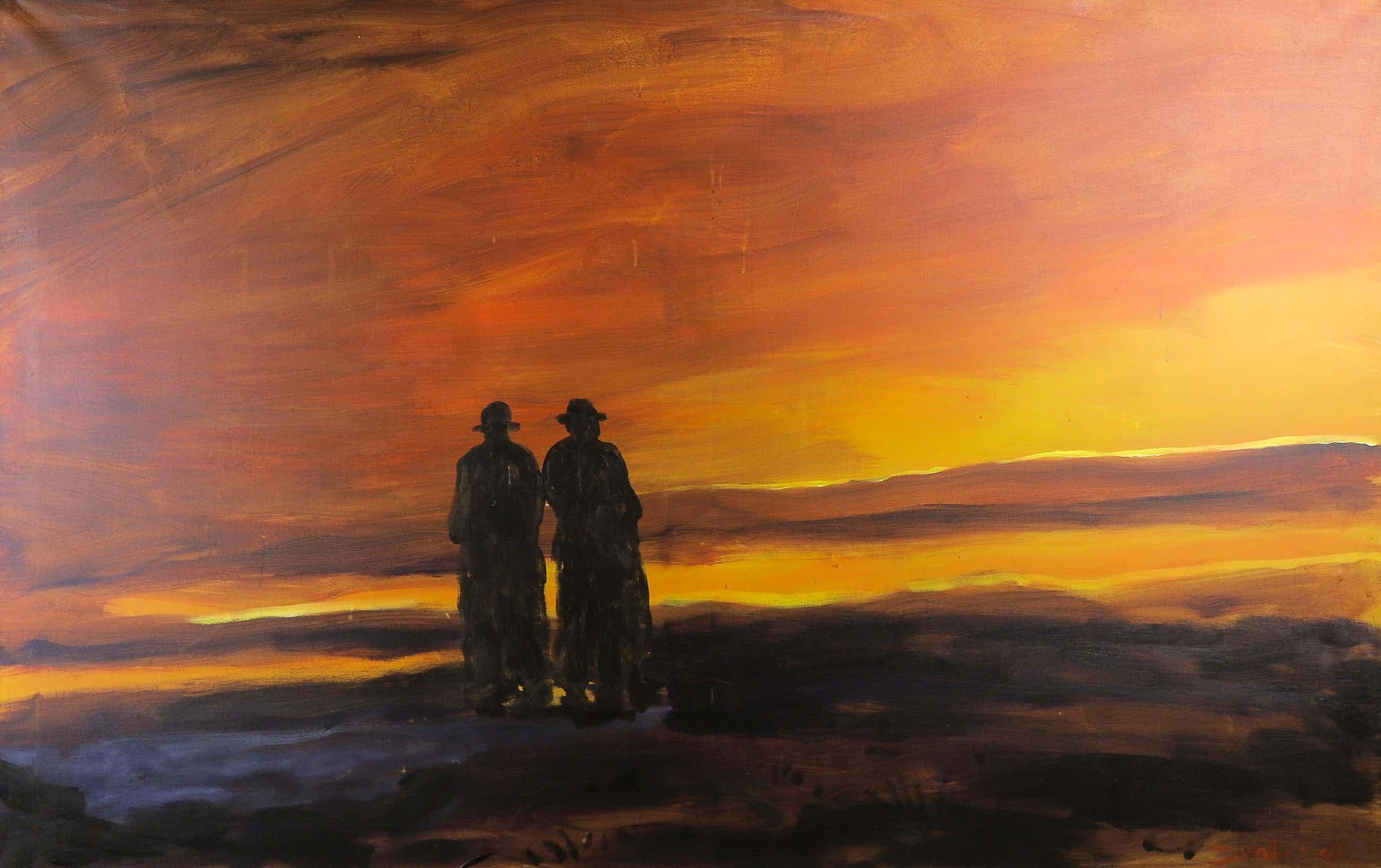 Justus Donker - Acryl op doek, Twee mannen op het strand - Dubbel beschilderd! (Zeer groot) kopen? Bied vanaf 71!