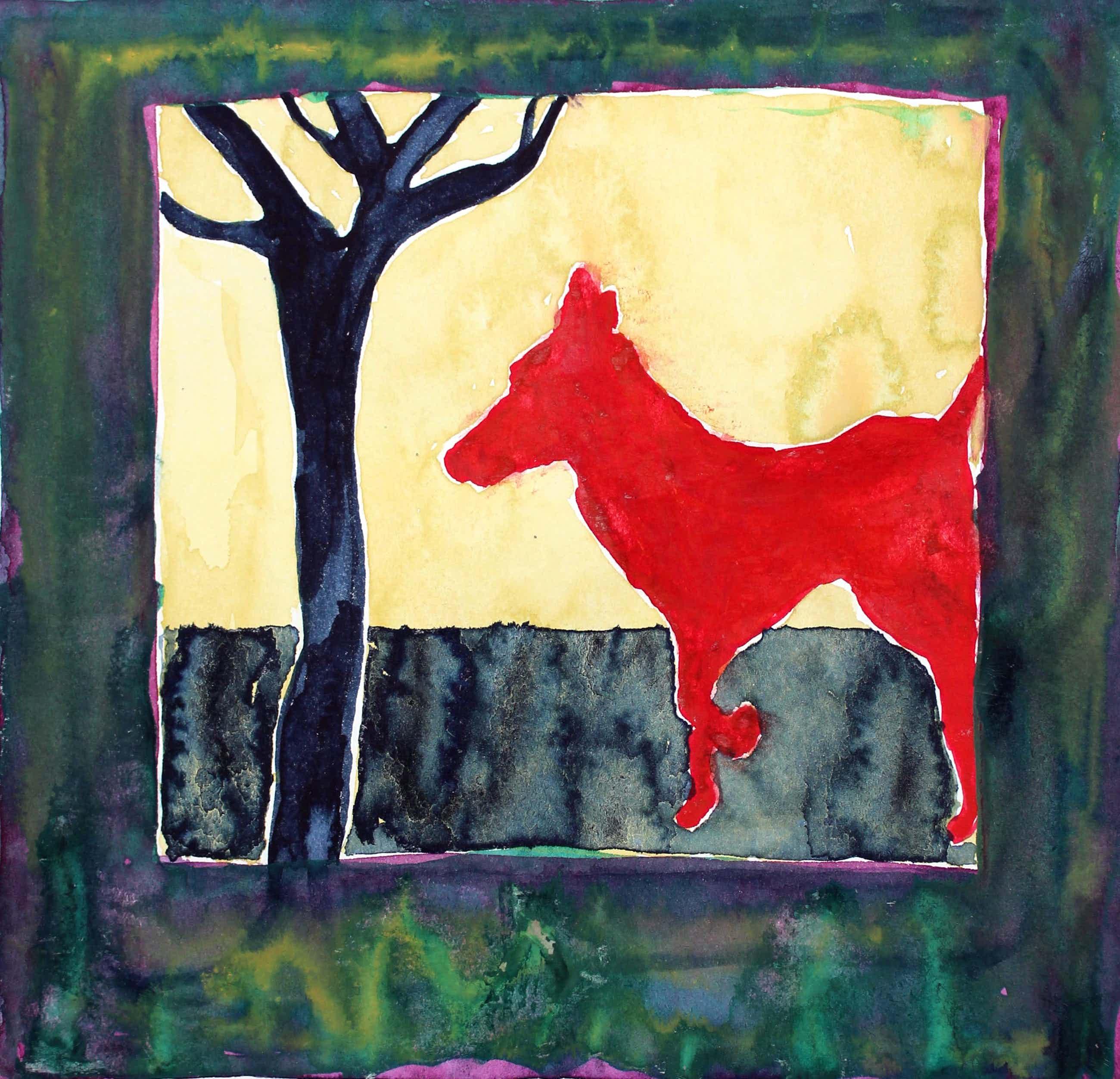 Ad van Riel - Red Dog with Tree (2) kopen? Bied vanaf 40!