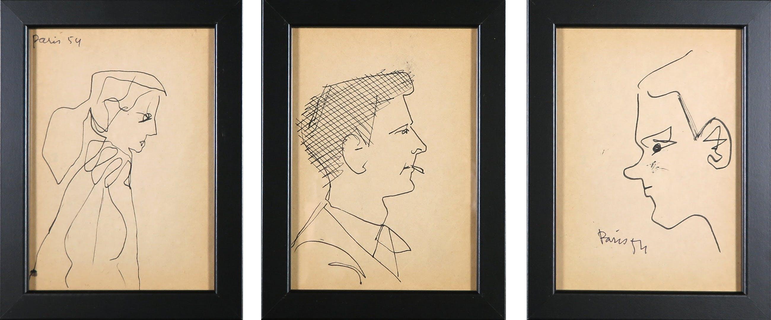 Siep van den Berg - Lot van drie tekeningen, Portretten en profil - Ingelijst kopen? Bied vanaf 1!