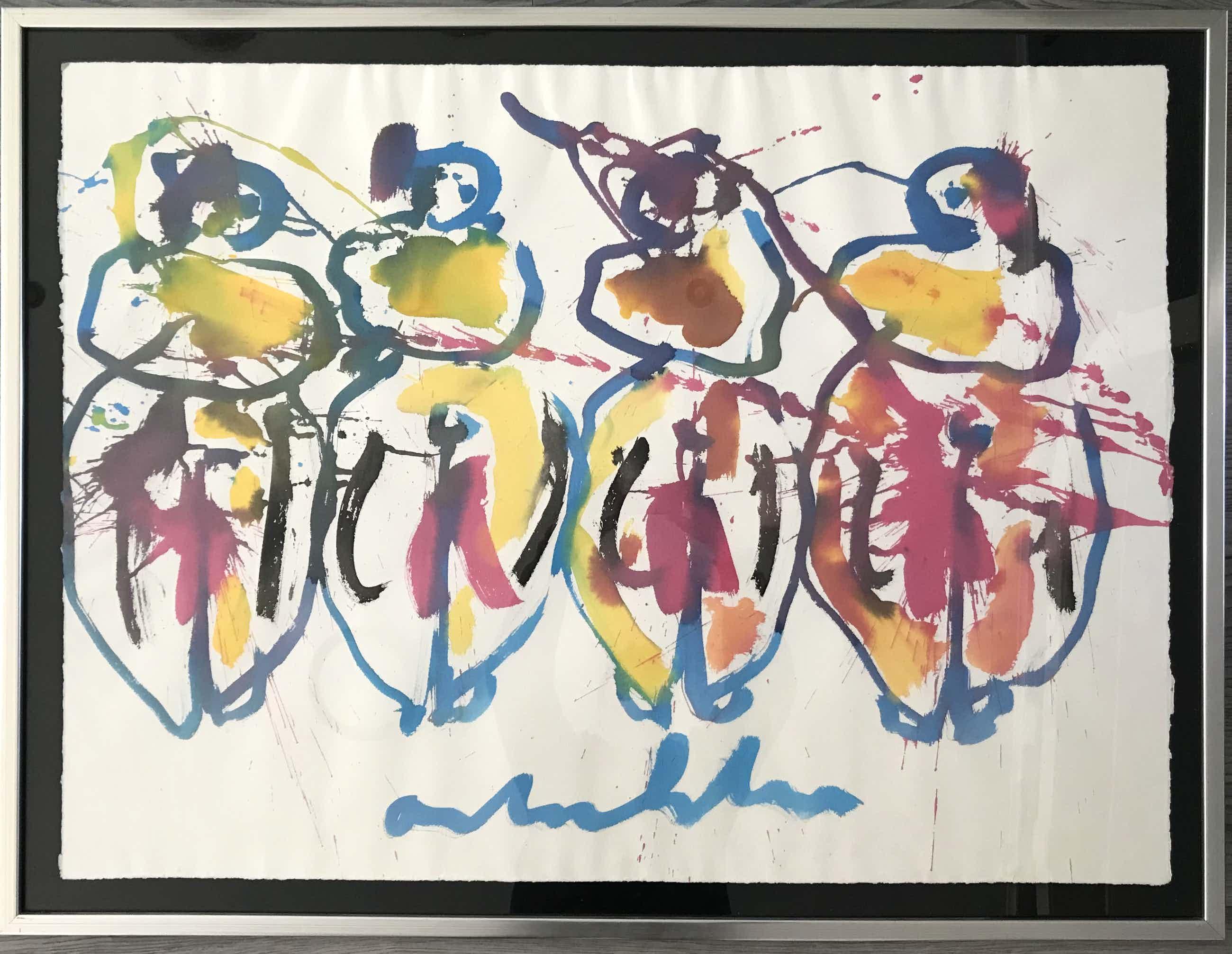 Anton Heyboer - 4 vrouwen - Grote aquarel kopen? Bied vanaf 550!