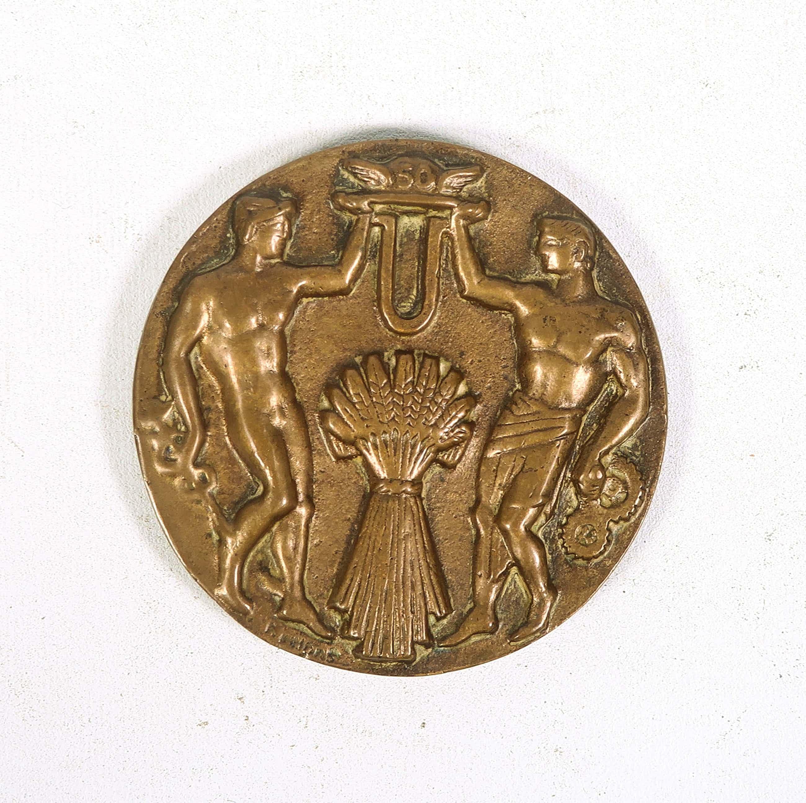 Pieter d' Hont - Bronzen penning, 50ste jaarbeurs Utrecht kopen? Bied vanaf 35!