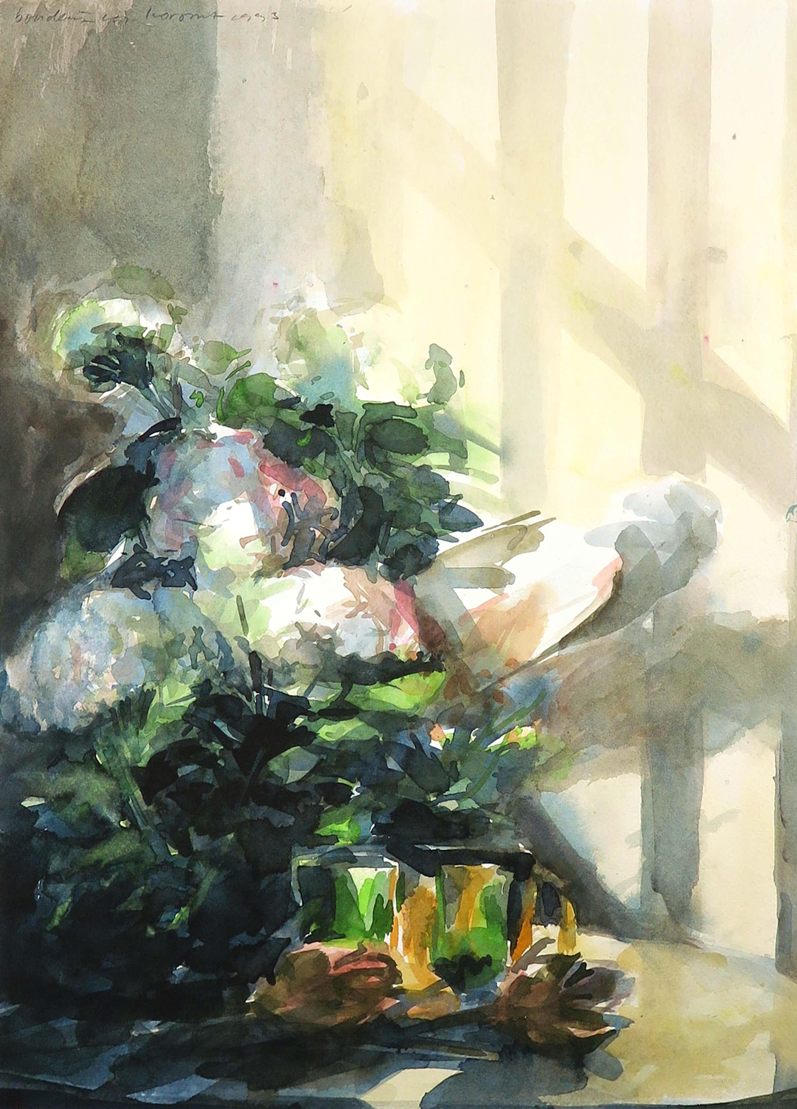 Boudewijn Korsmit - Aquarel, Z.T. Stilleven met bloemen kopen? Bied vanaf 40!