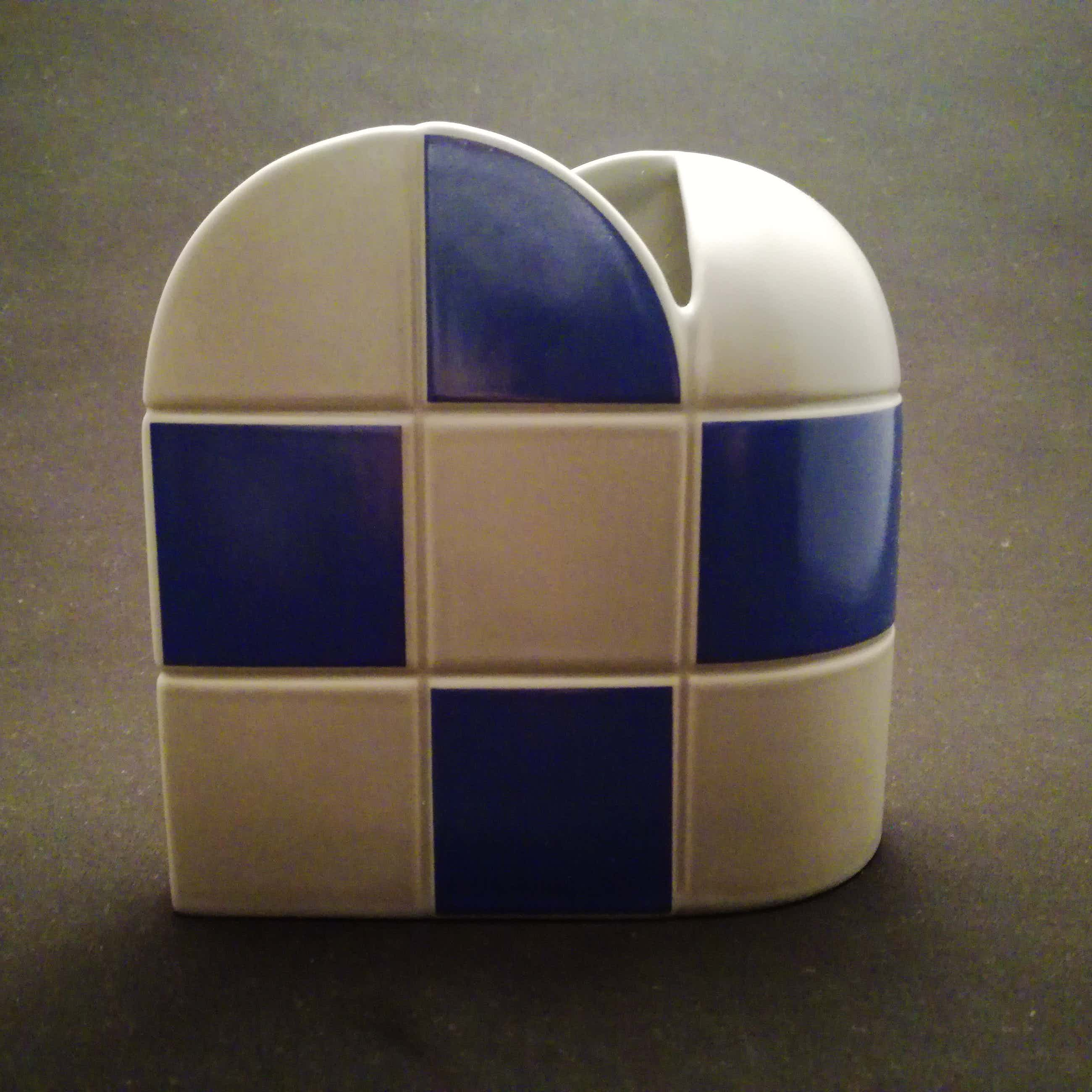 Jan van der Vaart - Schach vaas met blauwe en grijze vakken, Rosenthal studio linie kopen? Bied vanaf 40!