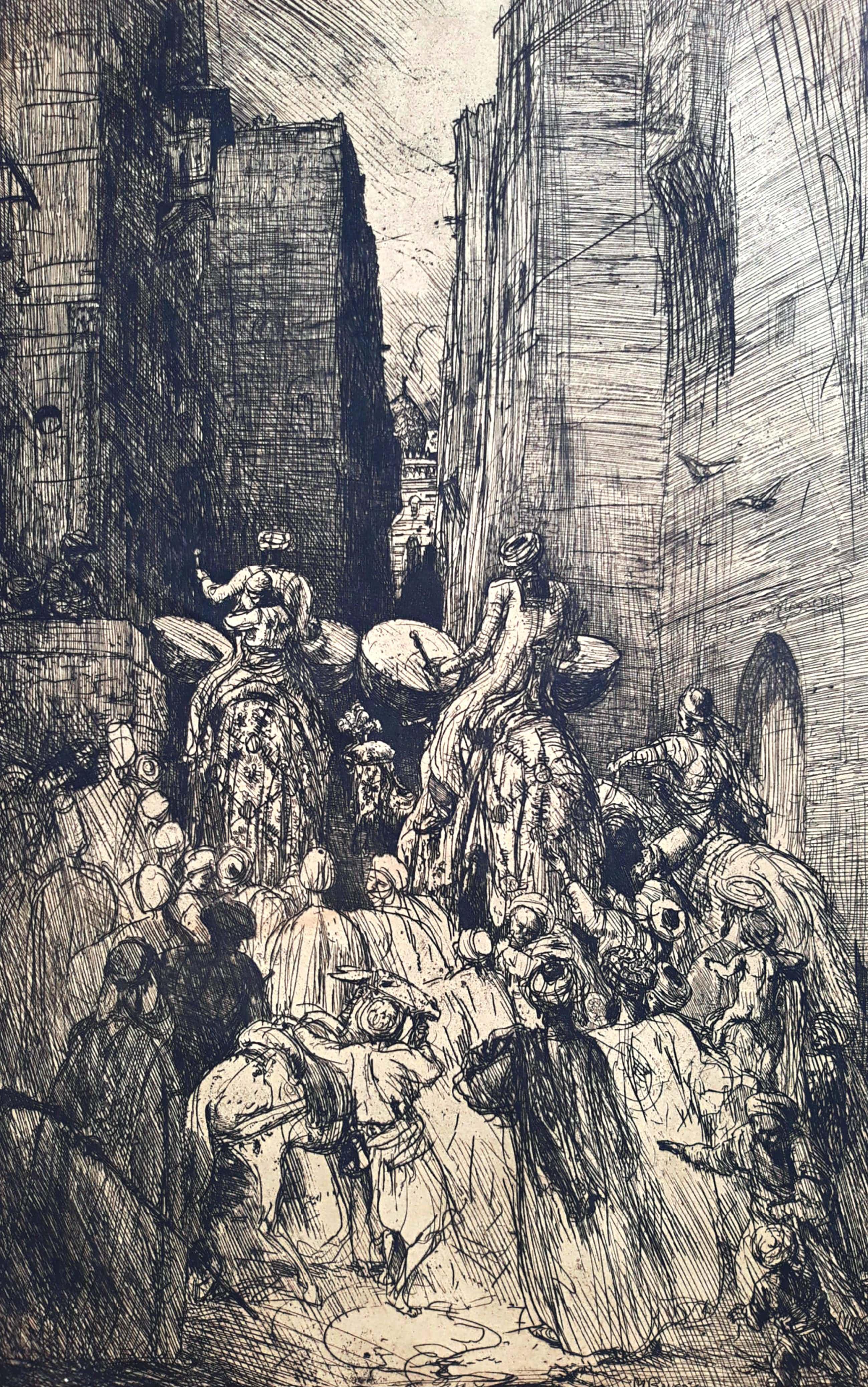 Marius Bauer - Een huwelijks-optocht met kameelen in Cairo, ets kopen? Bied vanaf 175!