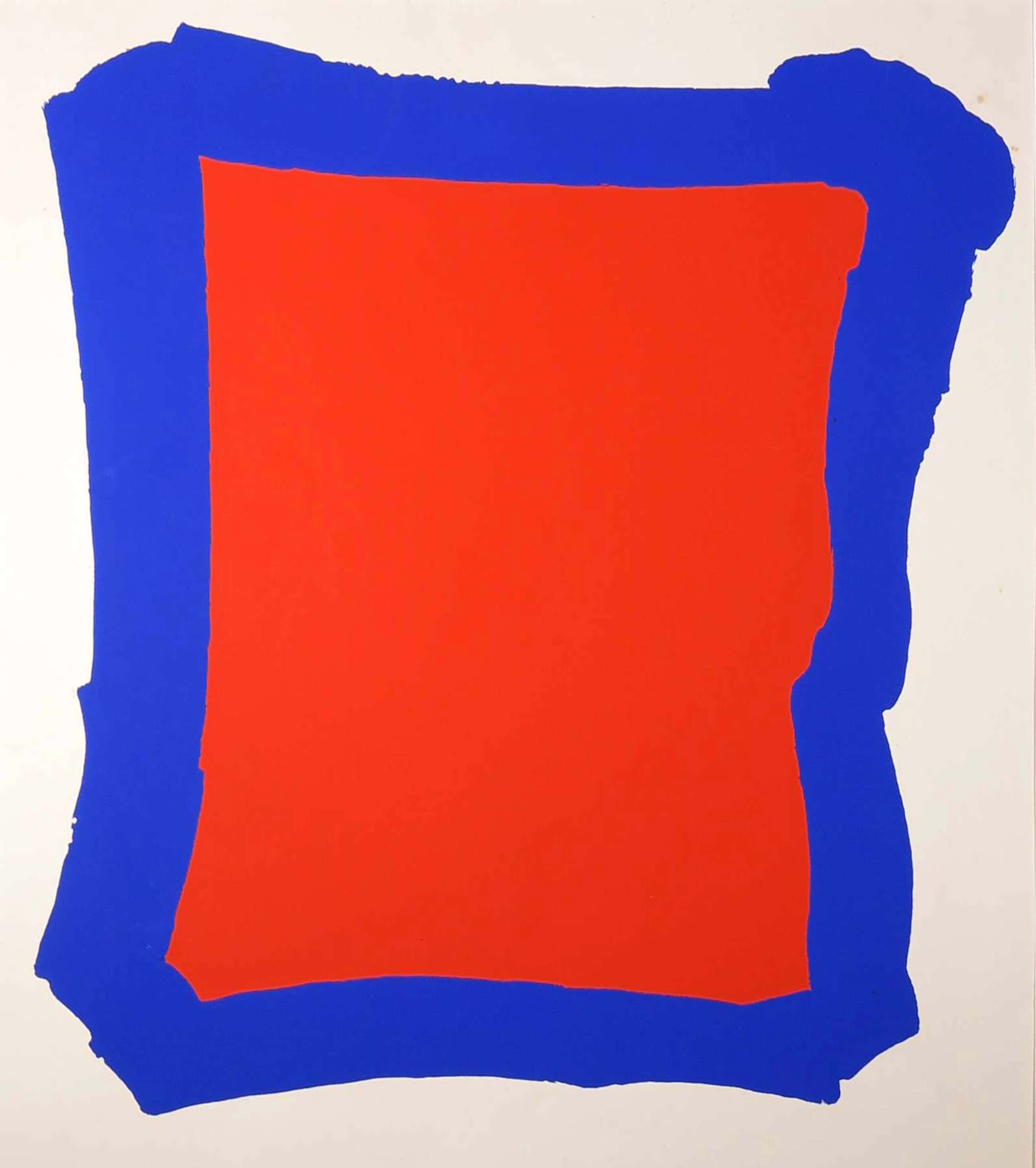 Bram Bogart - Zeefdruk, Blauw Rood kopen? Bied vanaf 602!
