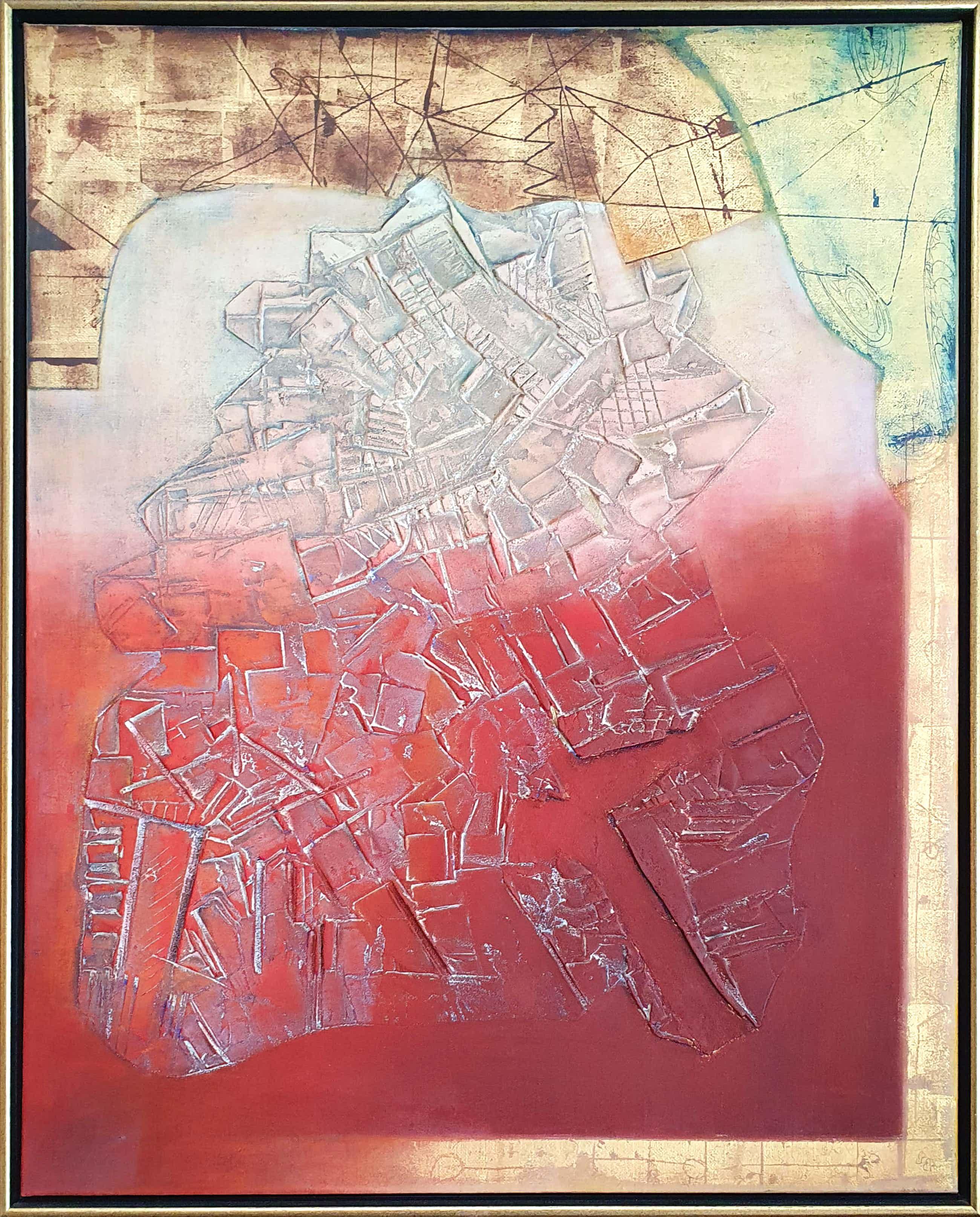Bert Grotjohann - Abstracte compositie met rood en goud tinten - Ingelijst (Groot) kopen? Bied vanaf 200!