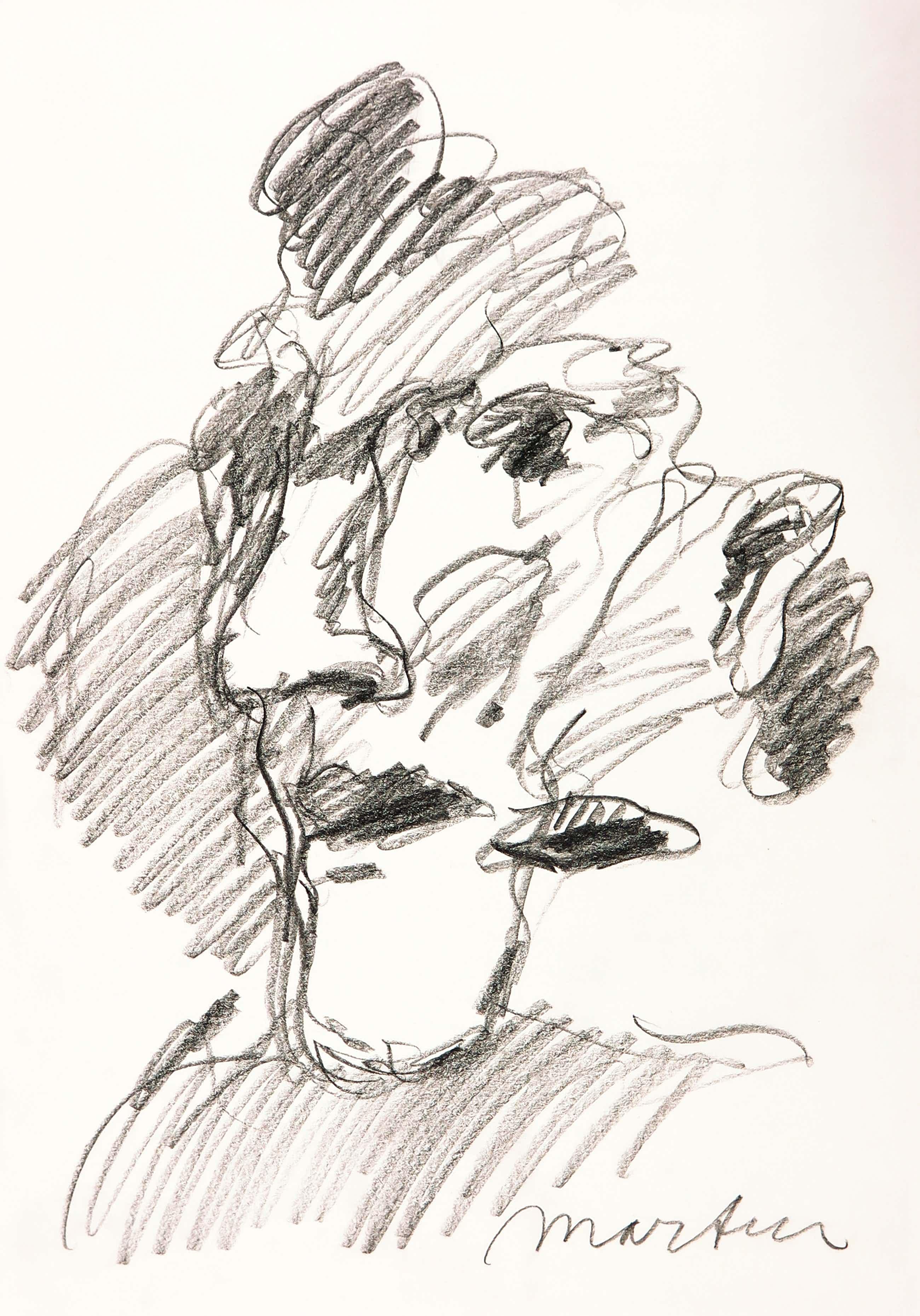 Anton Martineau - Houtskool, Portret van een vrouw kopen? Bied vanaf 70!