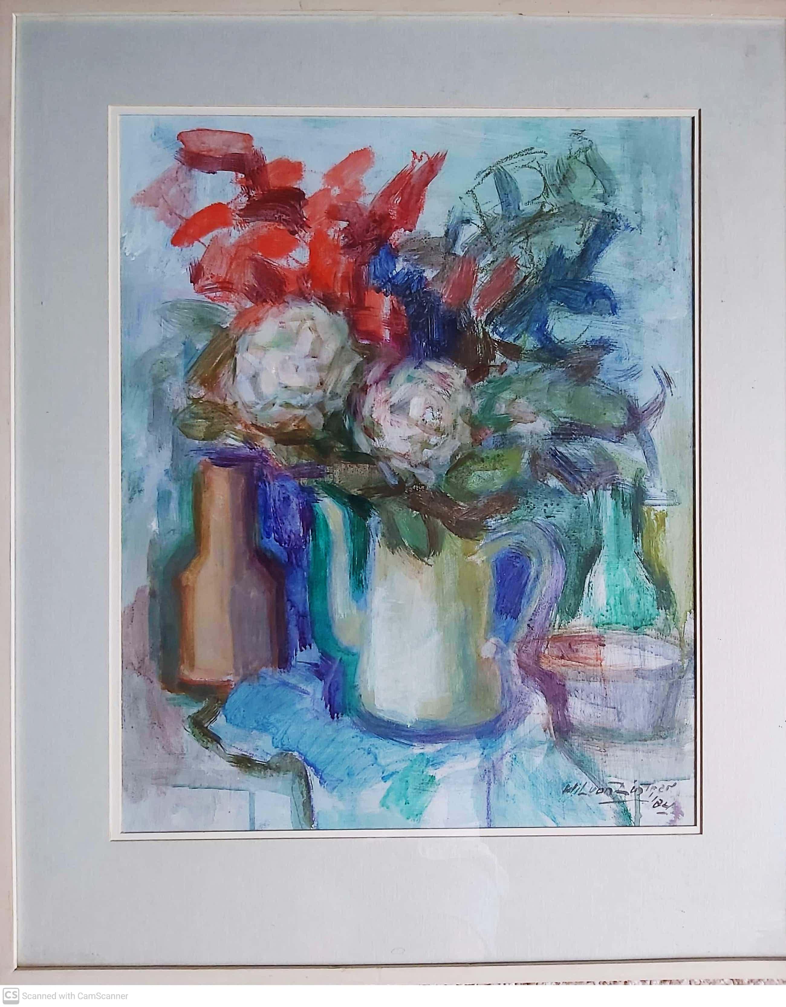 Wil van Dinther - bloemen in witte koffiekan kopen? Bied vanaf 100!