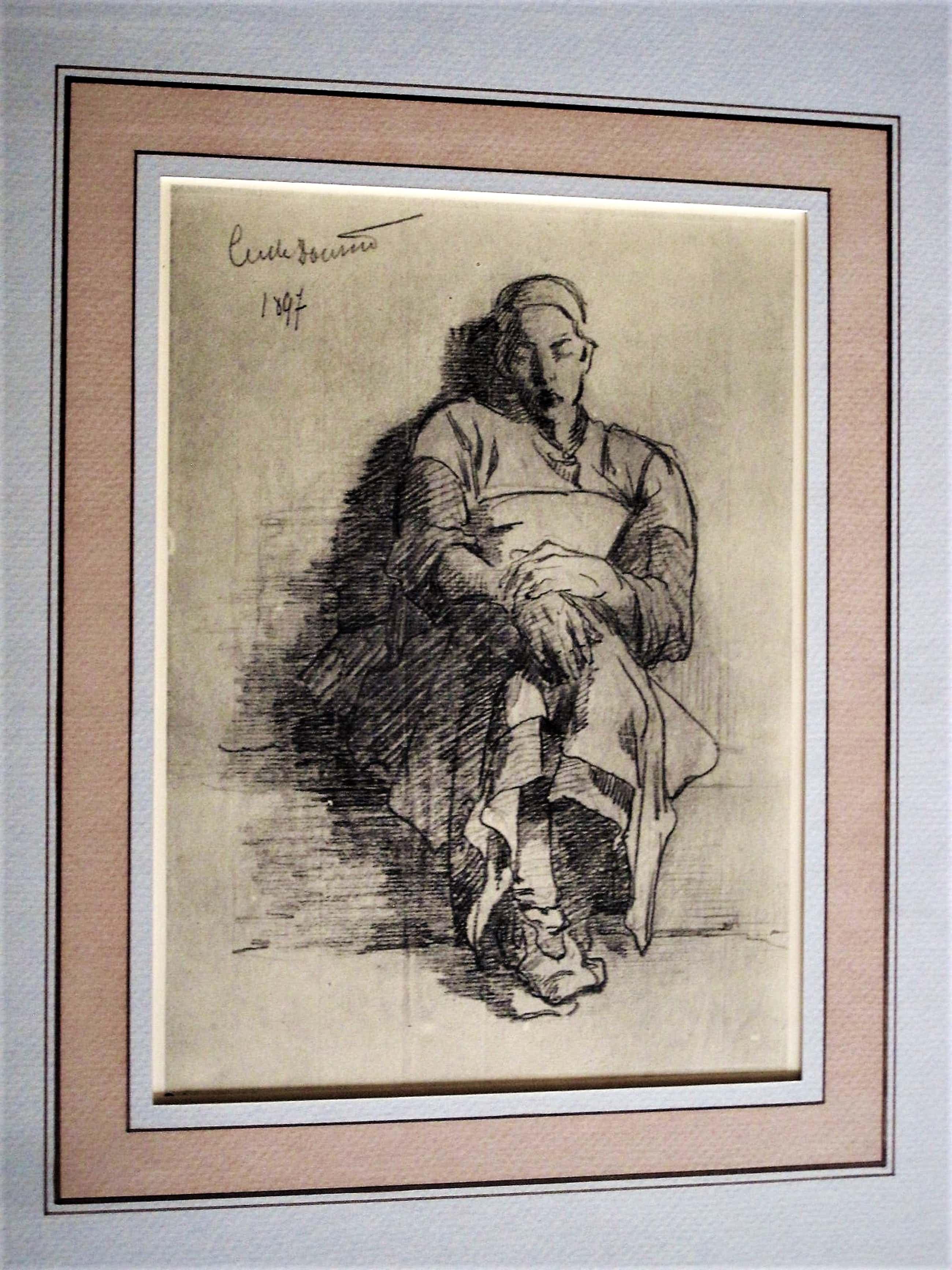 """Cecile Douard - tekende deze """"slapende Dienstmeid"""" in 1897 vlak voordat zij blind werd. kopen? Bied vanaf 70!"""
