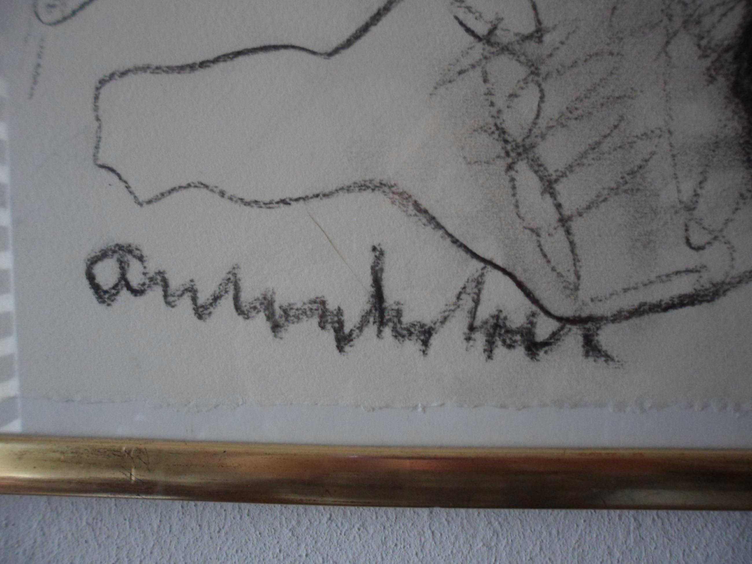 Anton Heyboer - Houtskool op molenpapier. Liggende vrouw kopen? Bied vanaf 175!
