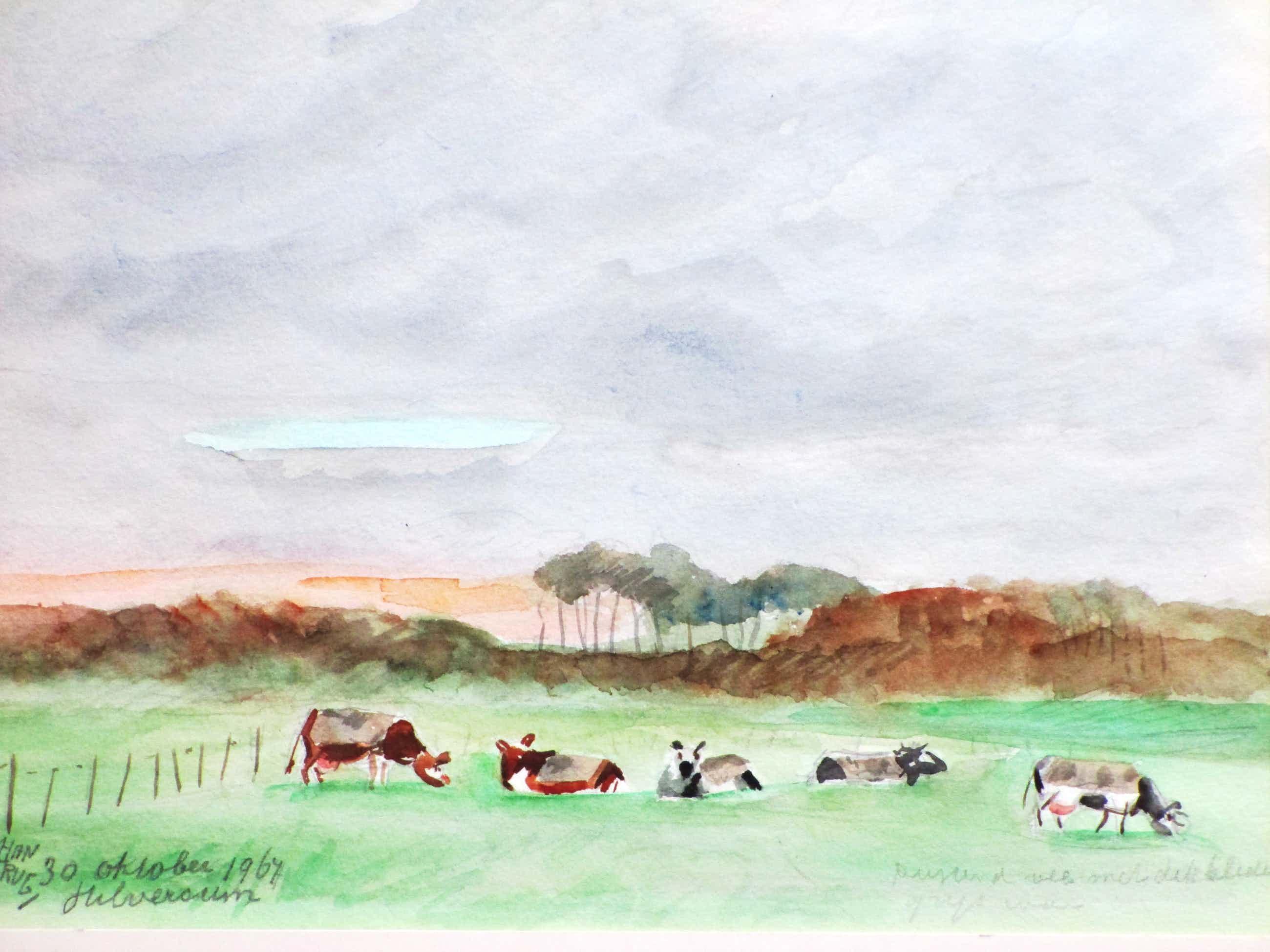 Han Krug - Rustend vee met dekkleden - Gemengde techniek kopen? Bied vanaf 25!