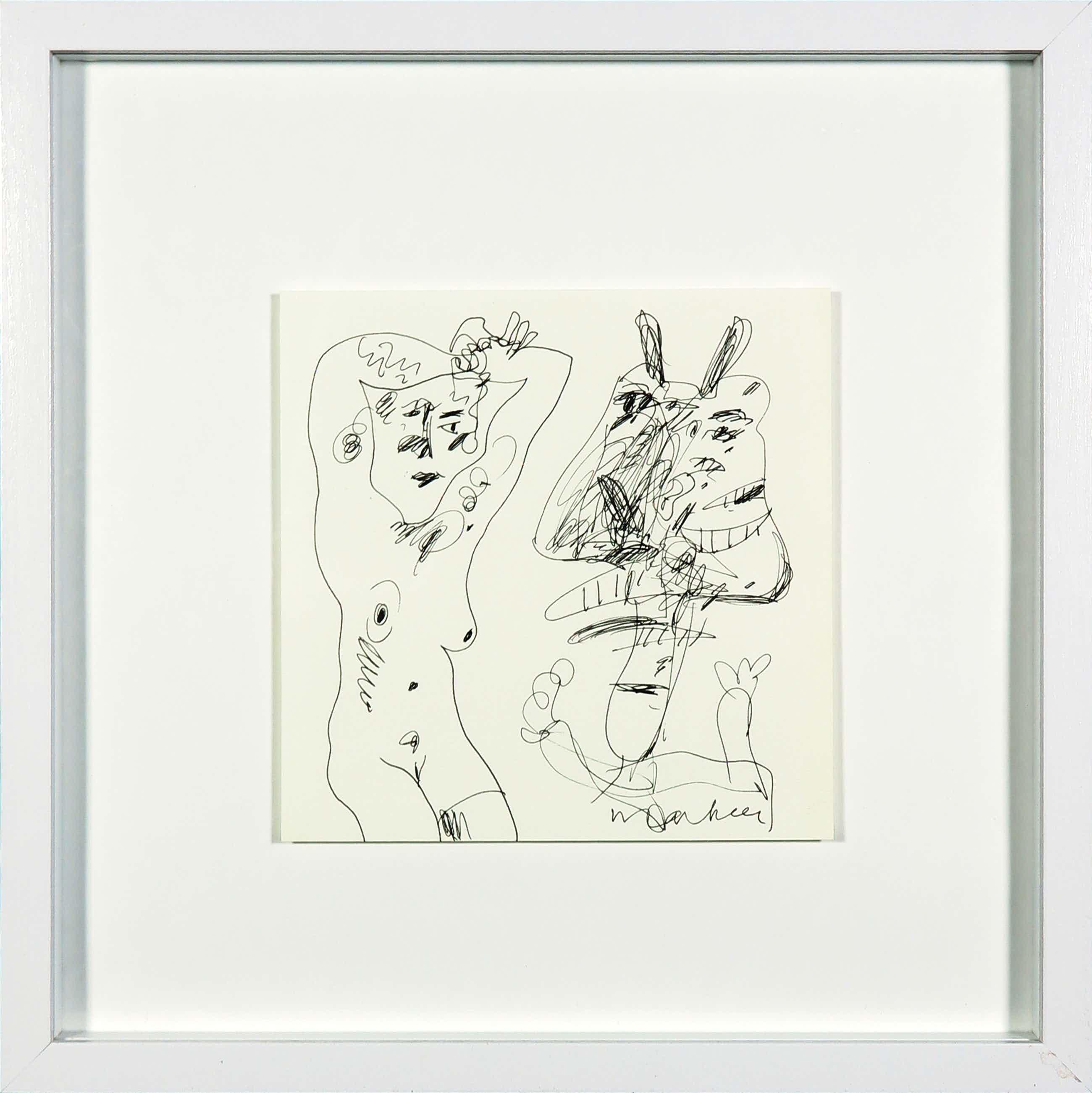 Anton Martineau - Pentekening van een naakt met figuur - Ingelijst kopen? Bied vanaf 174!