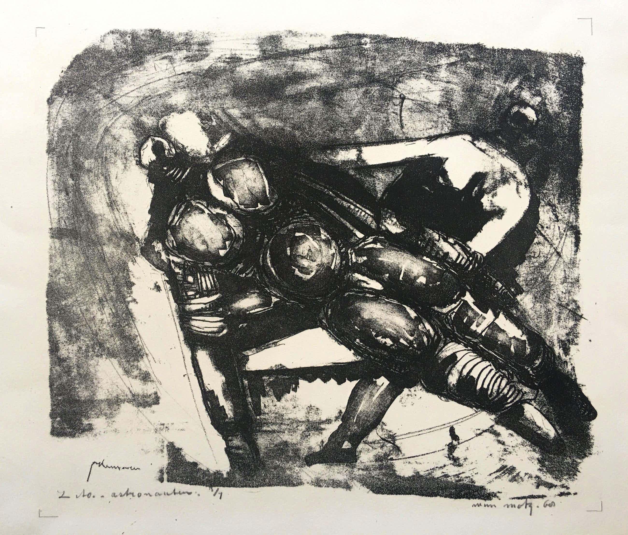 Wim Motz - litho 'Astronauten' - 1968 - oplage 1/1. kopen? Bied vanaf 45!