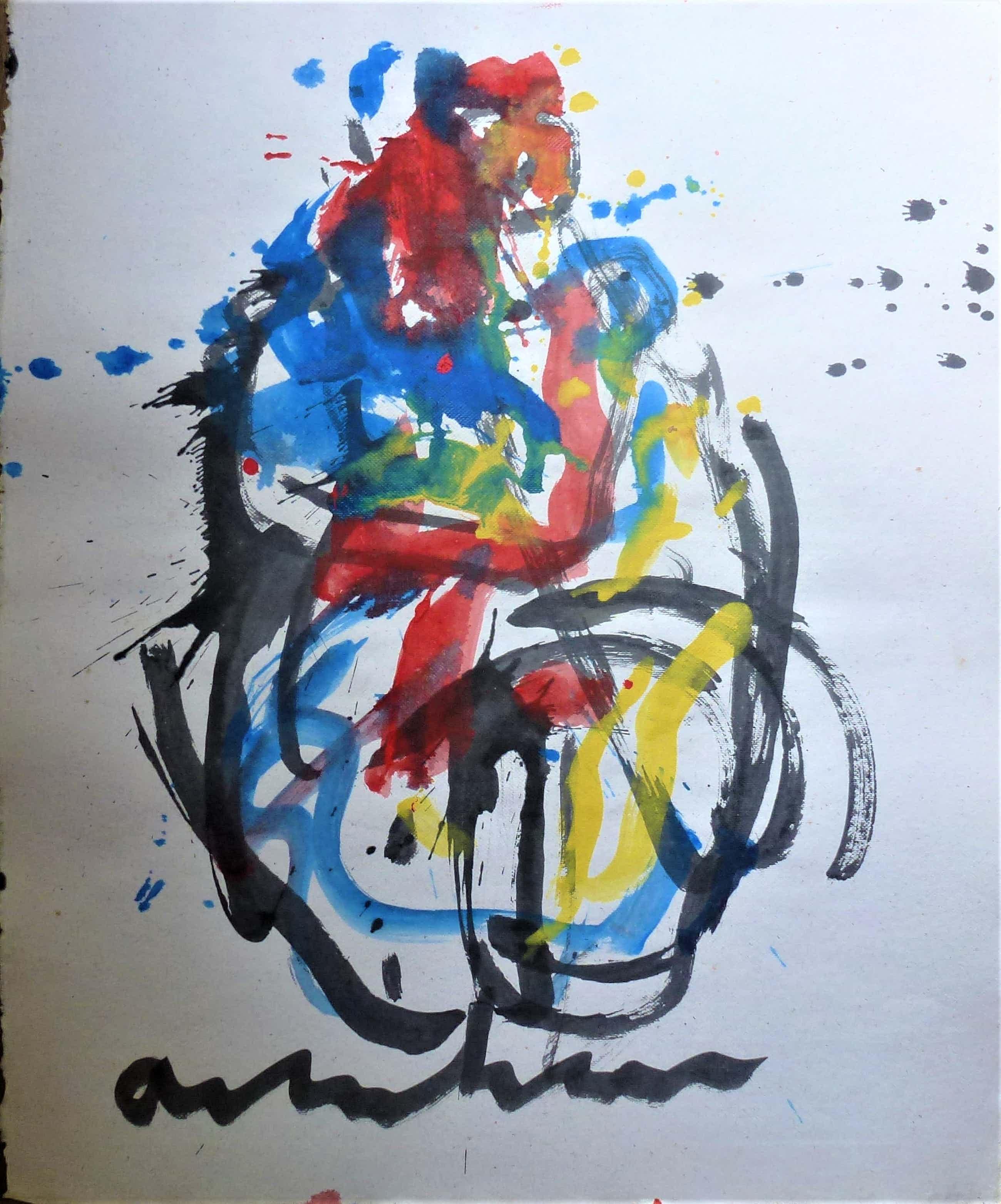 Anton Heyboer - Moeder en kind De oermoeder Mooie krachtige sierlijke kleurrijke schildering kopen? Bied vanaf 300!