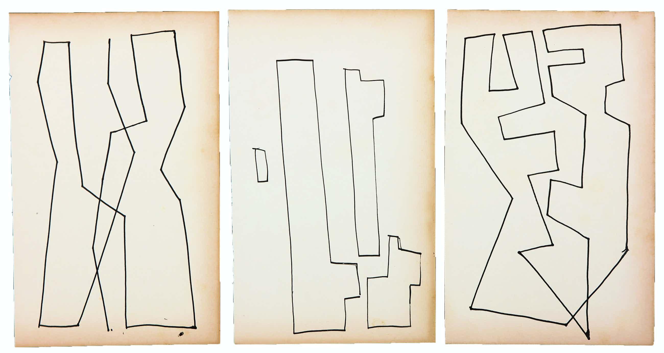 Siep van den Berg - Lot van drie abstracte composities kopen? Bied vanaf 40!