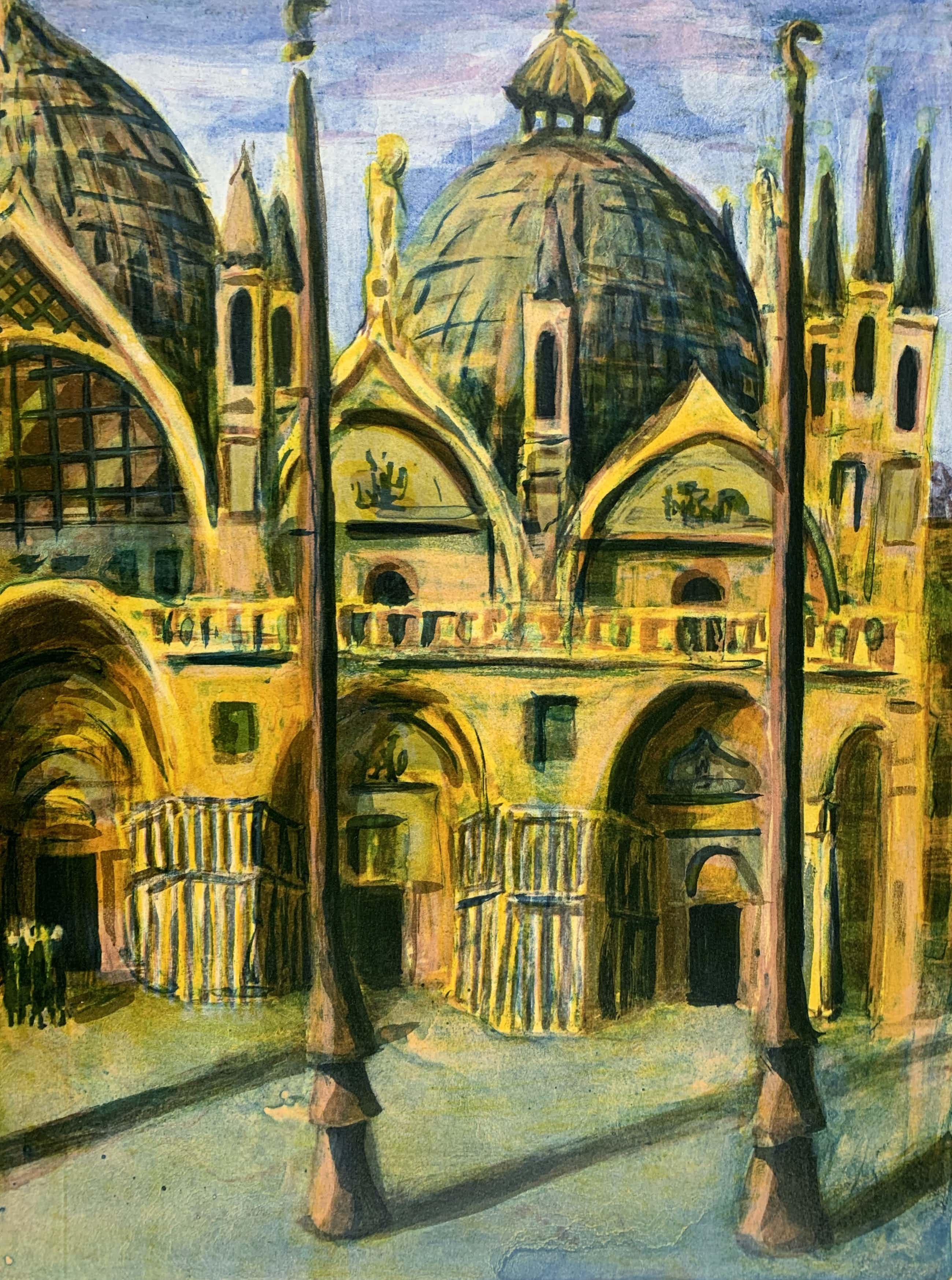 Jeroen Hermkens - Kleurenlitho - 'Venetië San Marco' - 1994 kopen? Bied vanaf 90!