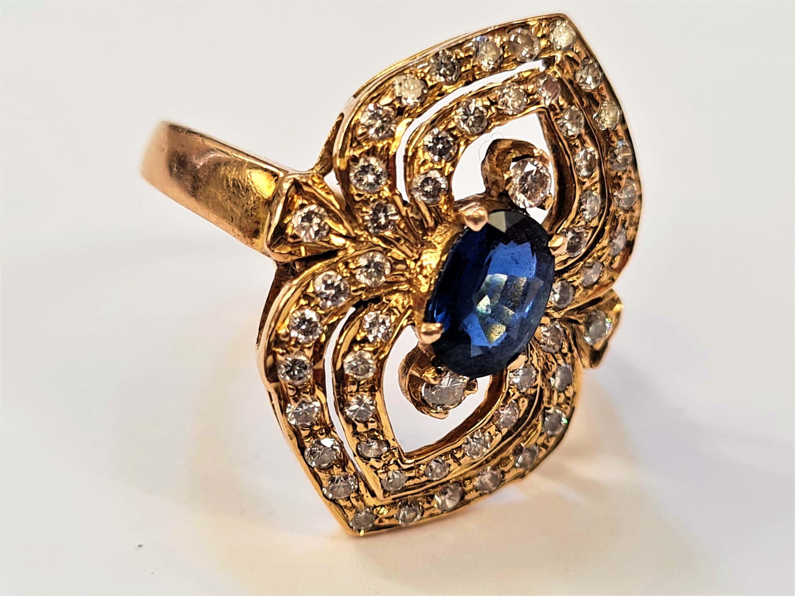 1237 - 14 krt goud & diamanten ring - grote 0.65ct diep-blauwe saffier! kopen? Bied vanaf 440!