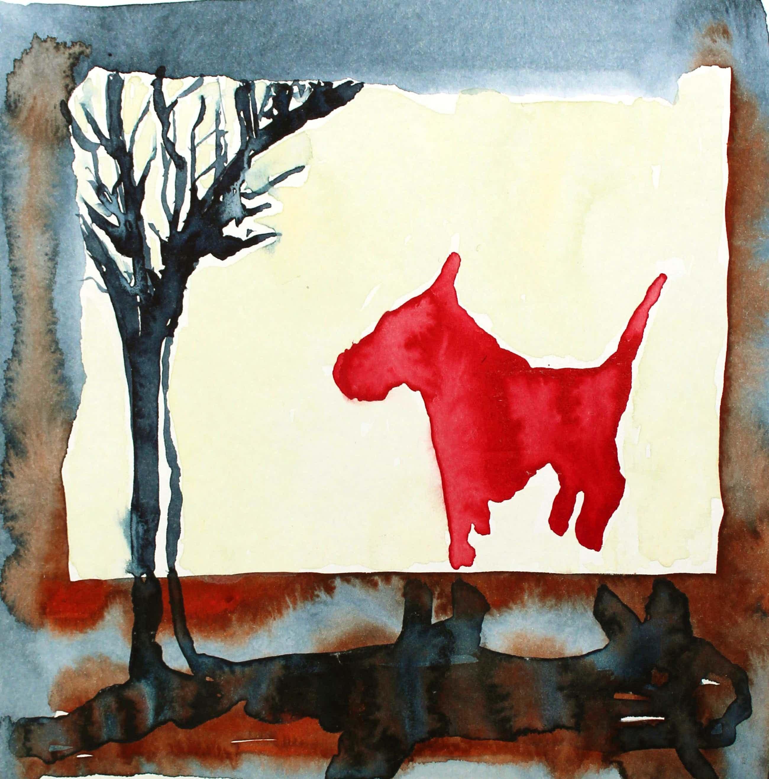 Ad van Riel - Red dog with tree (1) kopen? Bied vanaf 35!