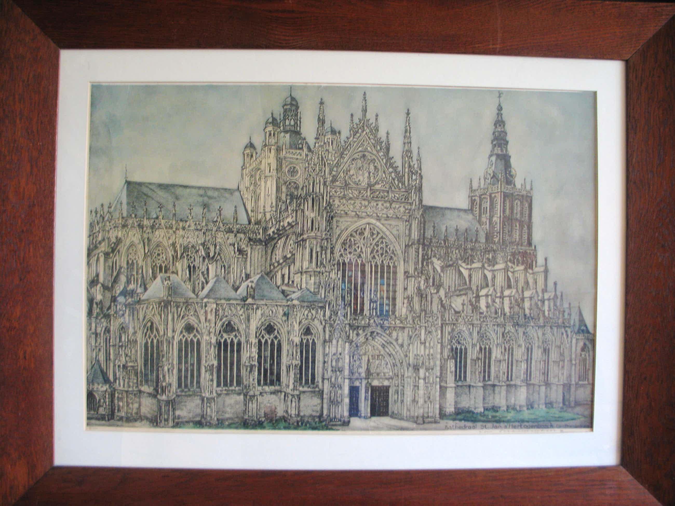 Cornelis Brandenburg - Kleurenlithografie van de Kathedraal Sint Jan in Den Bosch kopen? Bied vanaf 35!
