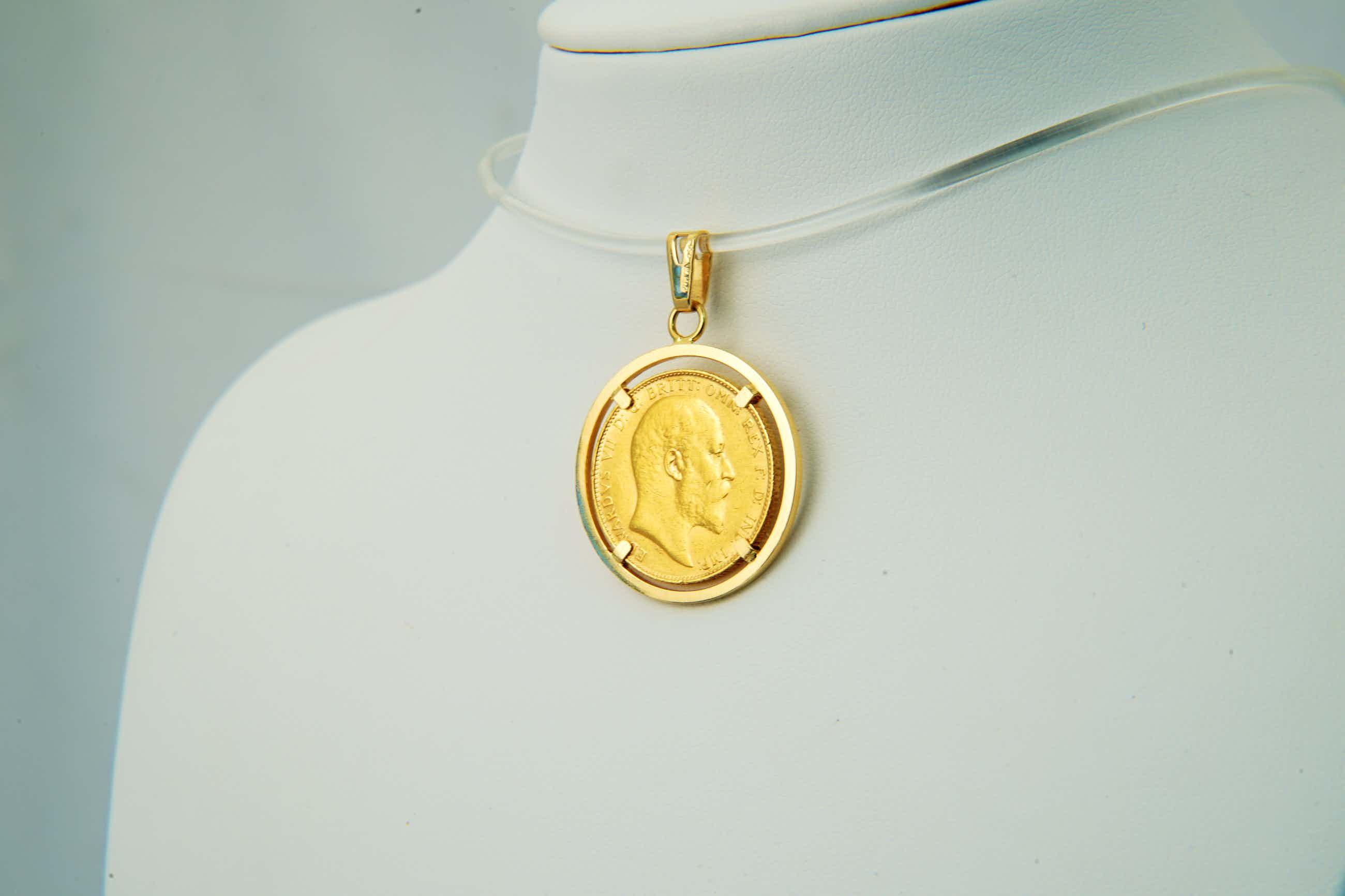 2544b- 18 Krt gouden montuur met losse Britse Sovereign munt Edward VII 1908 kopen? Bied vanaf 330!