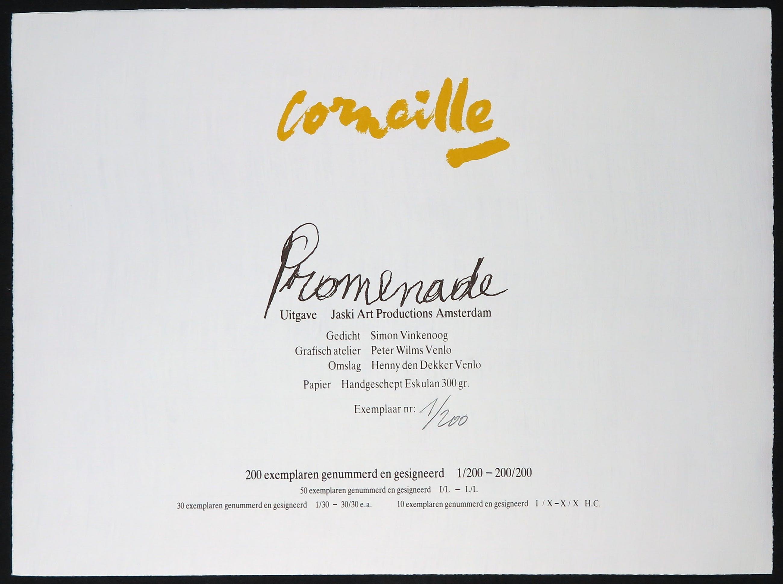 Corneille - Portfolio met vier litho's, Promenade, met een gedicht door Simon Vinkenoog kopen? Bied vanaf 1!