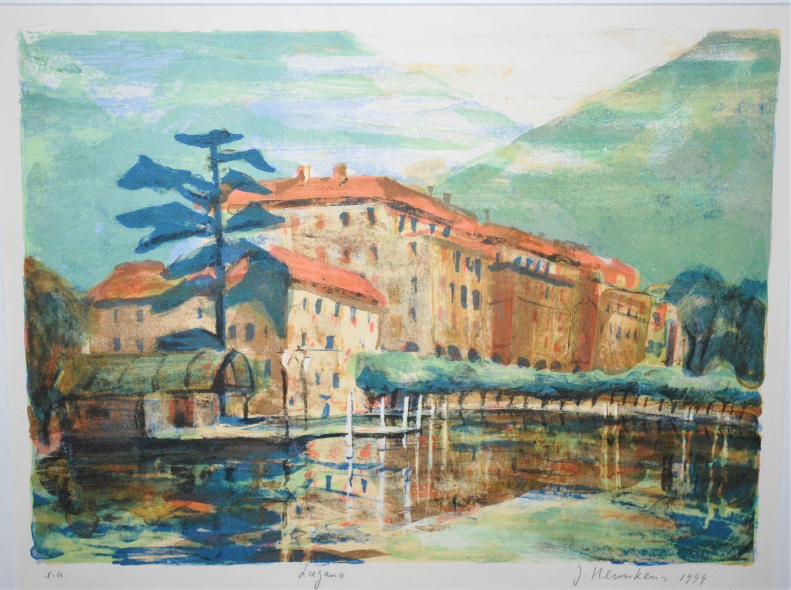 Jeroen Hermkens - litho - Lugano - e.a. - 1999 - plus 2 kunstboeken kopen? Bied vanaf 75!