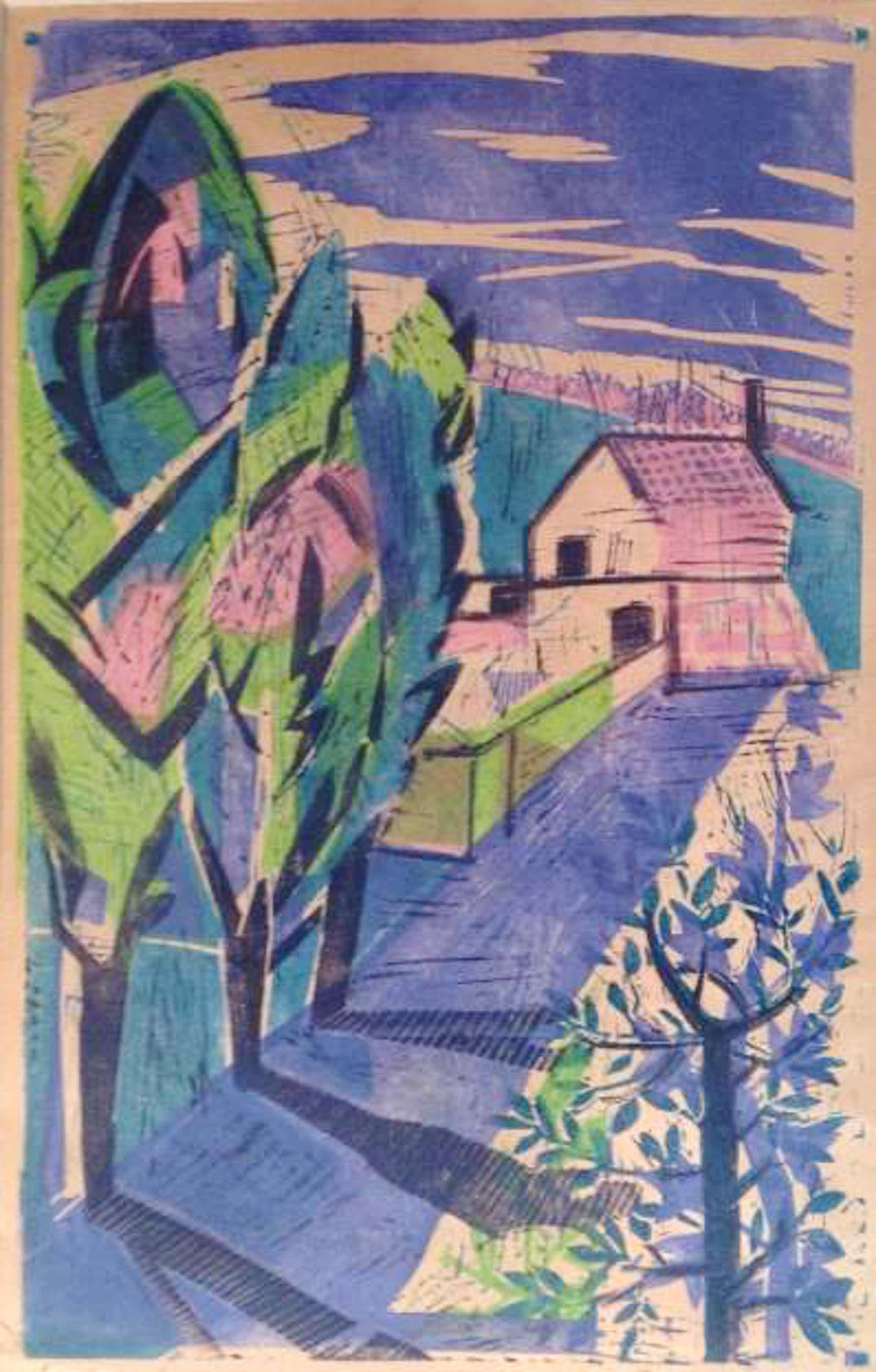 Jeanne Bieruma Oosting - a9638, linosnede, gekleurd landschap kopen? Bied vanaf 50!