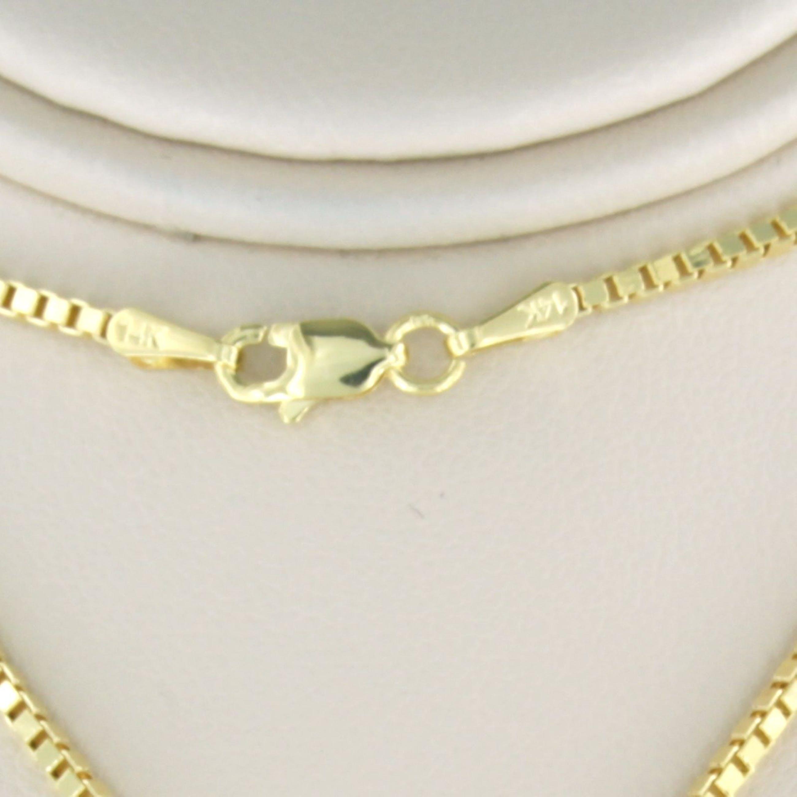 14k geelgouden collier met een gouden hanger bezet met chrysopraas - 50 cm lang kopen? Bied vanaf 240!