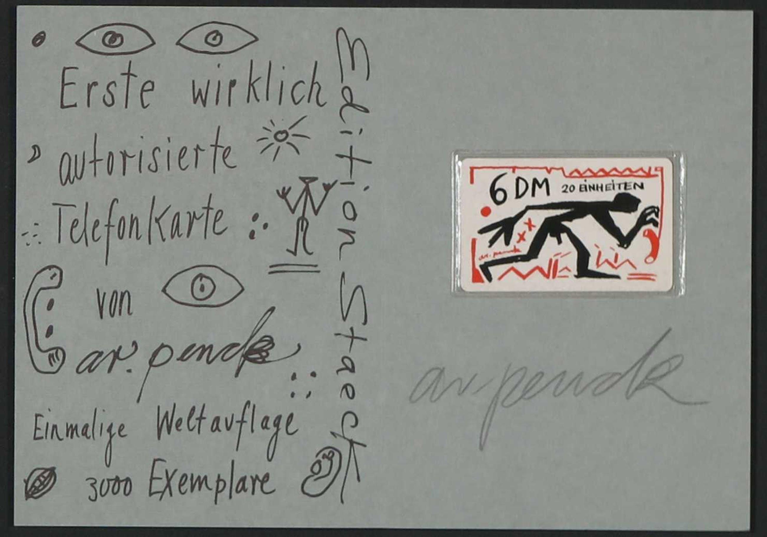 A.R. Penck - Gesigneerde zeefdruk met (ongeopende) telefoonkaart kopen? Bied vanaf 1!
