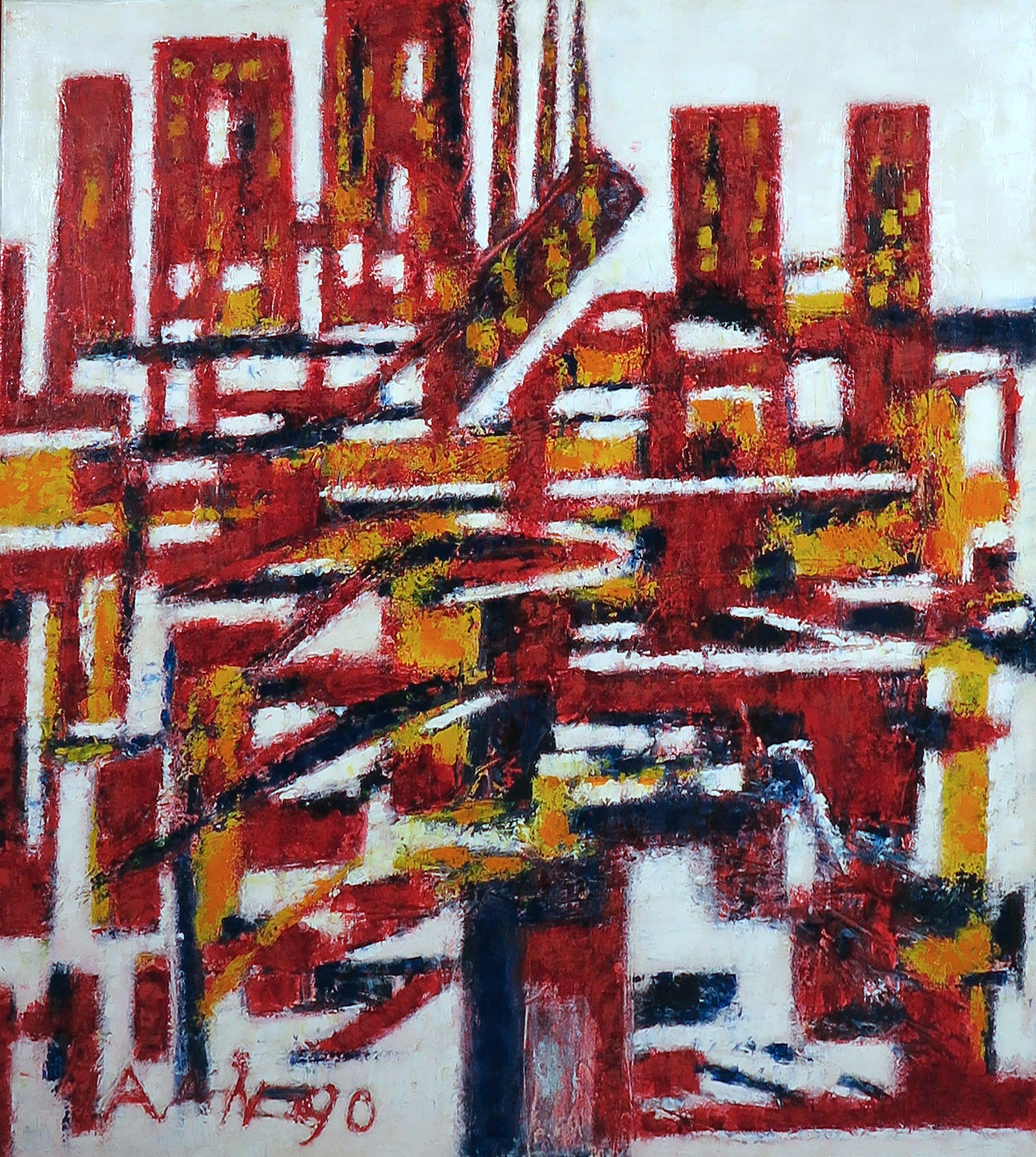 Pieter Haan - Acryl op doek, New York kopen? Bied vanaf 50!
