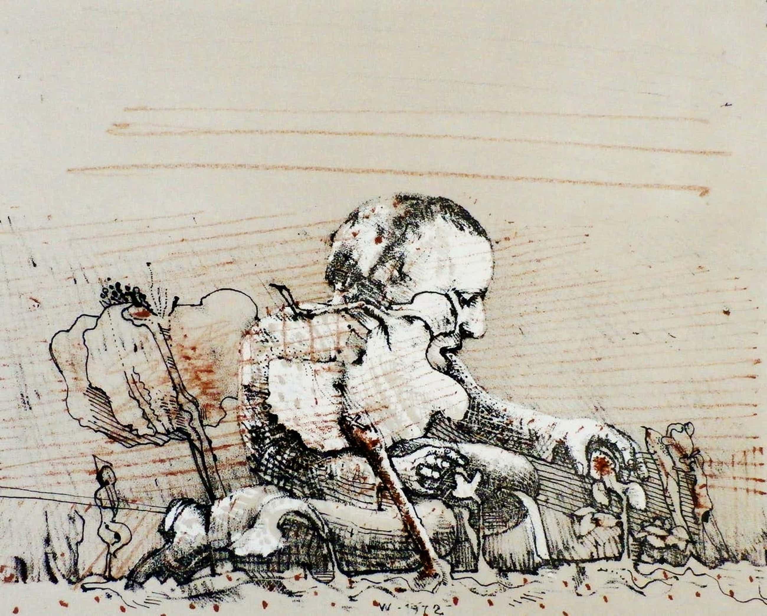 Co Westerik - litho: aardbei plukkende man - 1972 kopen? Bied vanaf 250!