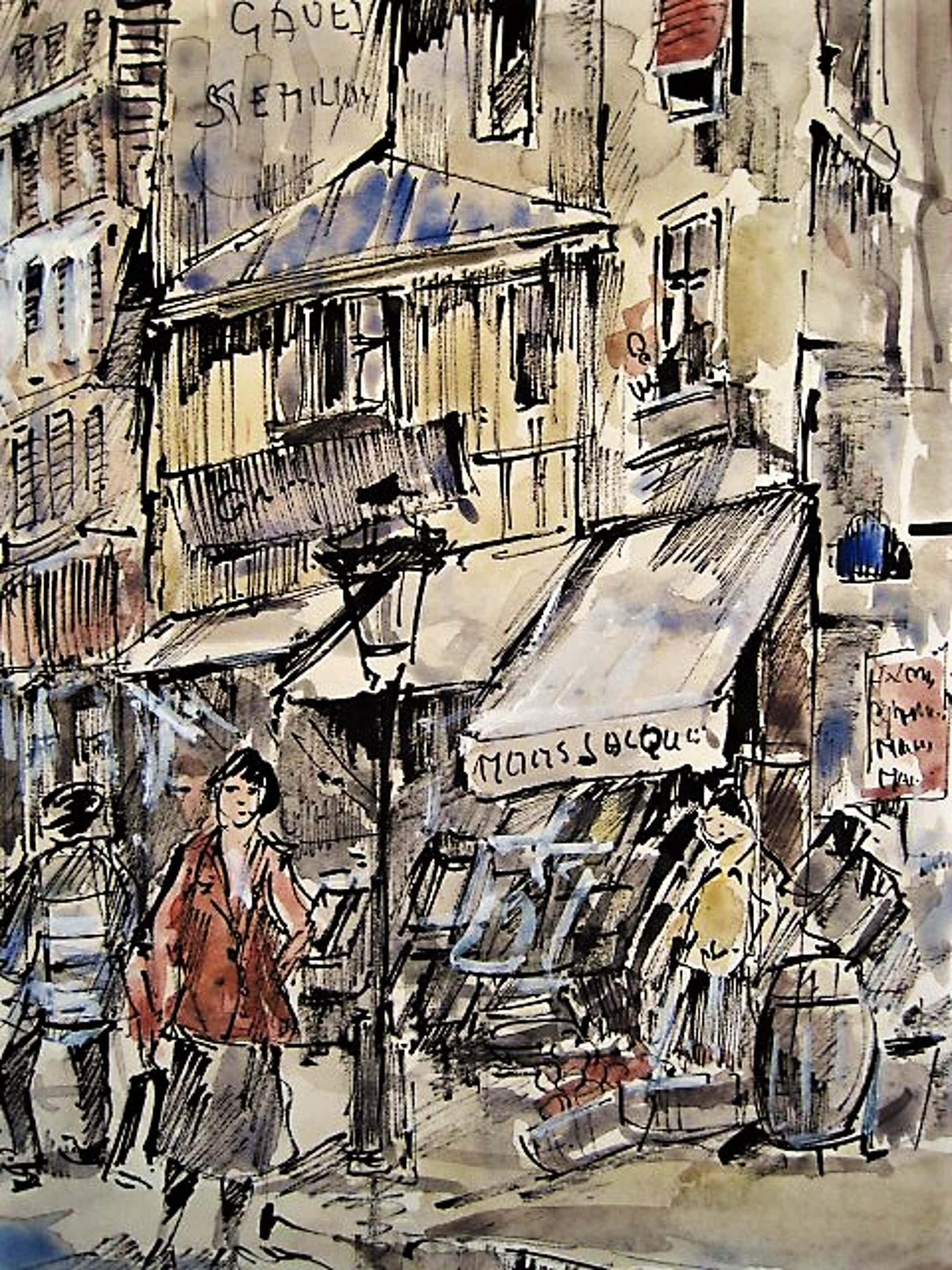"""Michel Soutine - Frankrijk jaren 50 Grote Aquarel """"Parijs- Rue Lalande st Denis"""" gesigneerd kopen? Bied vanaf 50!"""